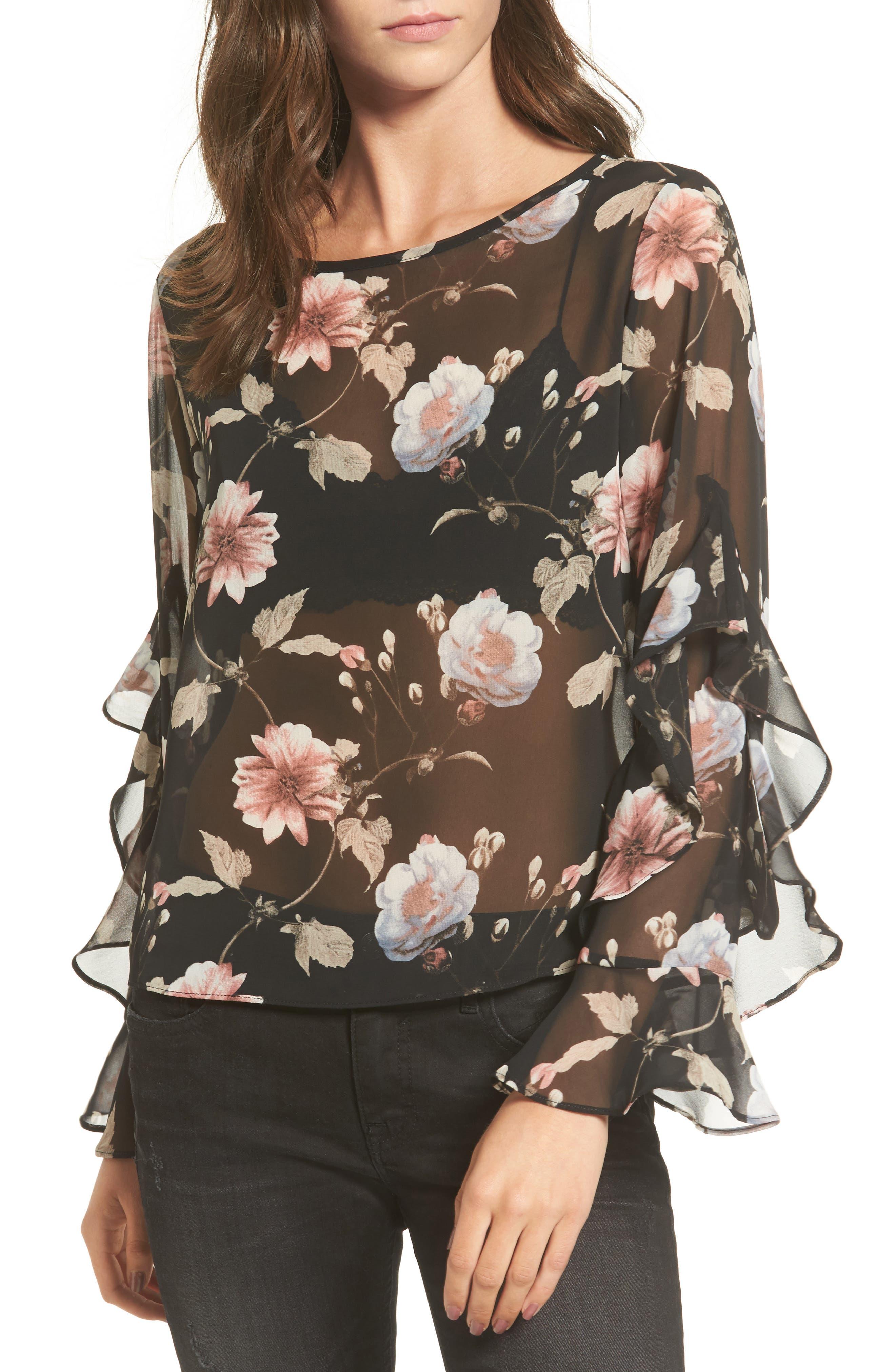 Soprano Floral Print Sheer Top