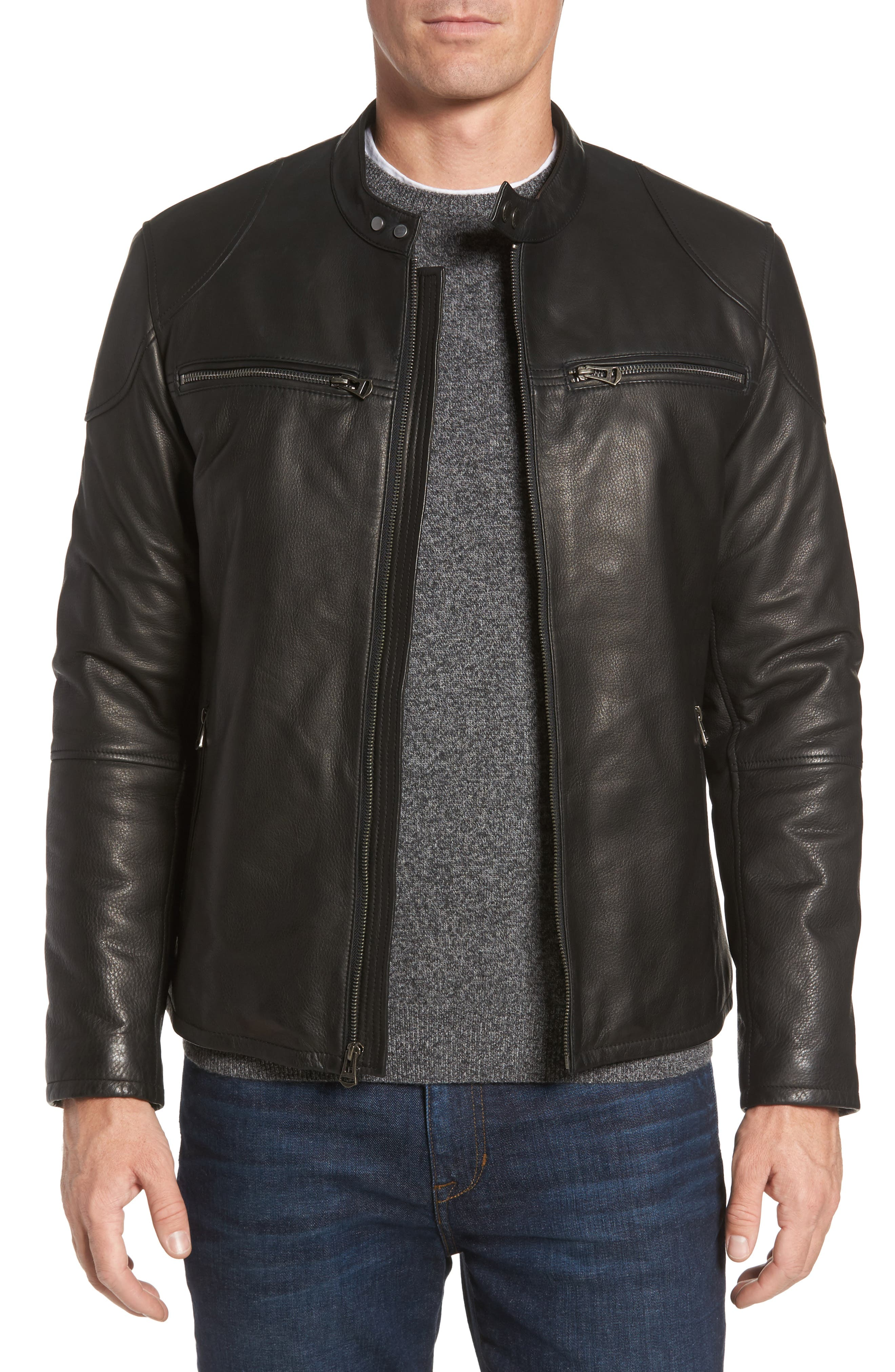 Leather Zip Front Moto Jacket,                             Main thumbnail 1, color,                             Black