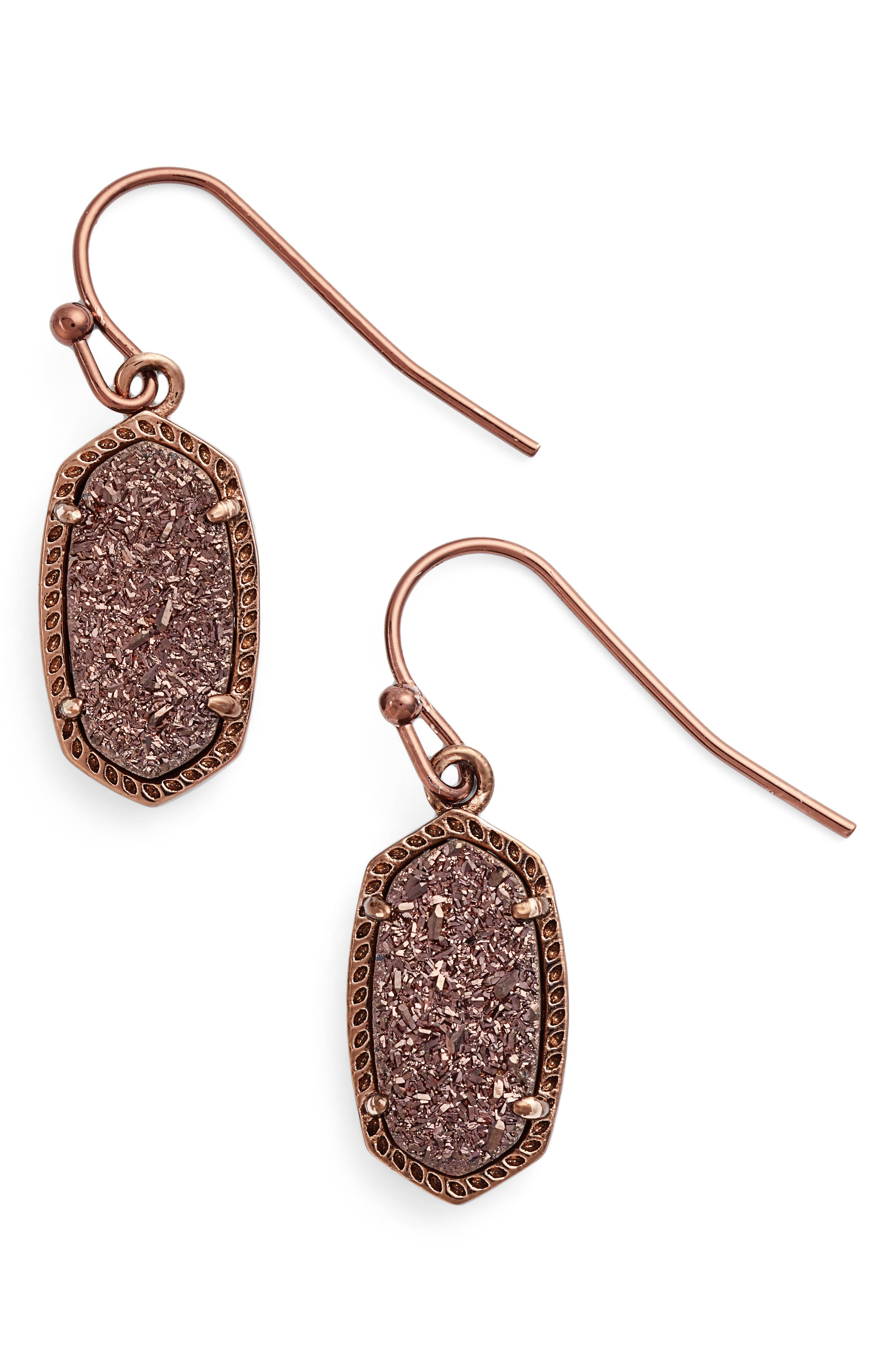 Lee Small Drop Earrings,                         Main,                         color, Chocolate Drusy