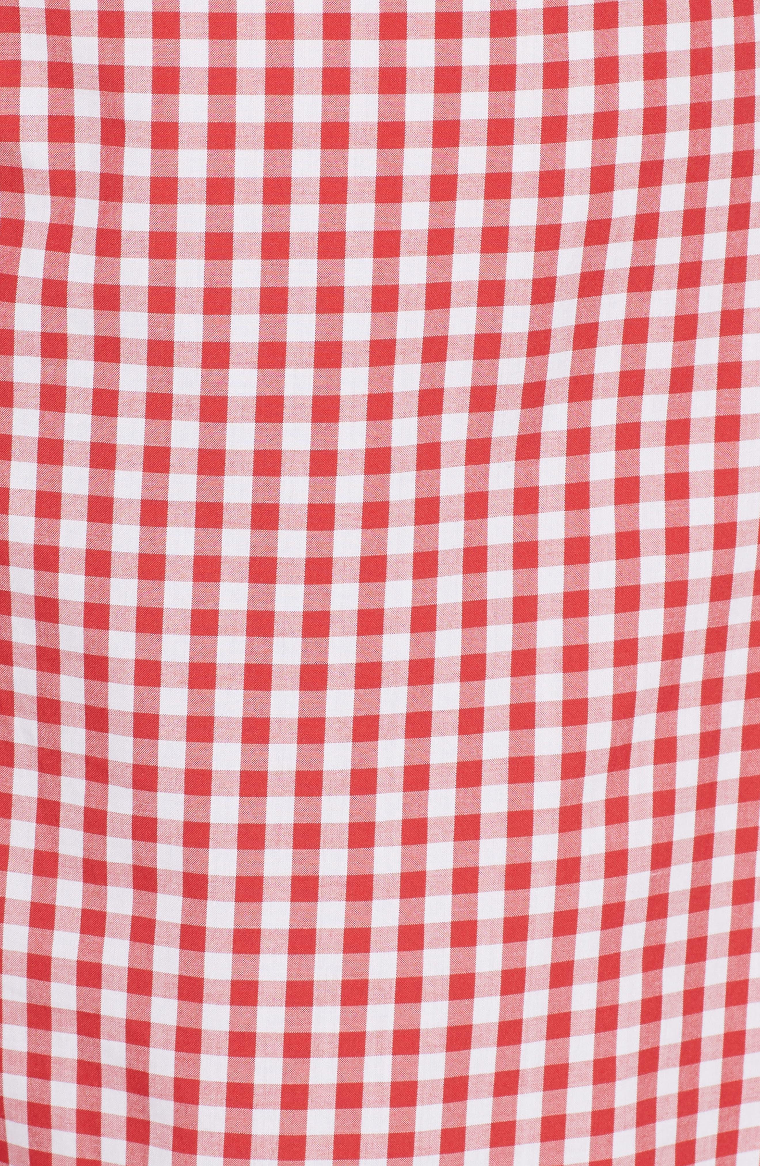 Three-Panel Gingham Midi Skirt,                             Alternate thumbnail 3, color,                             Red/ White