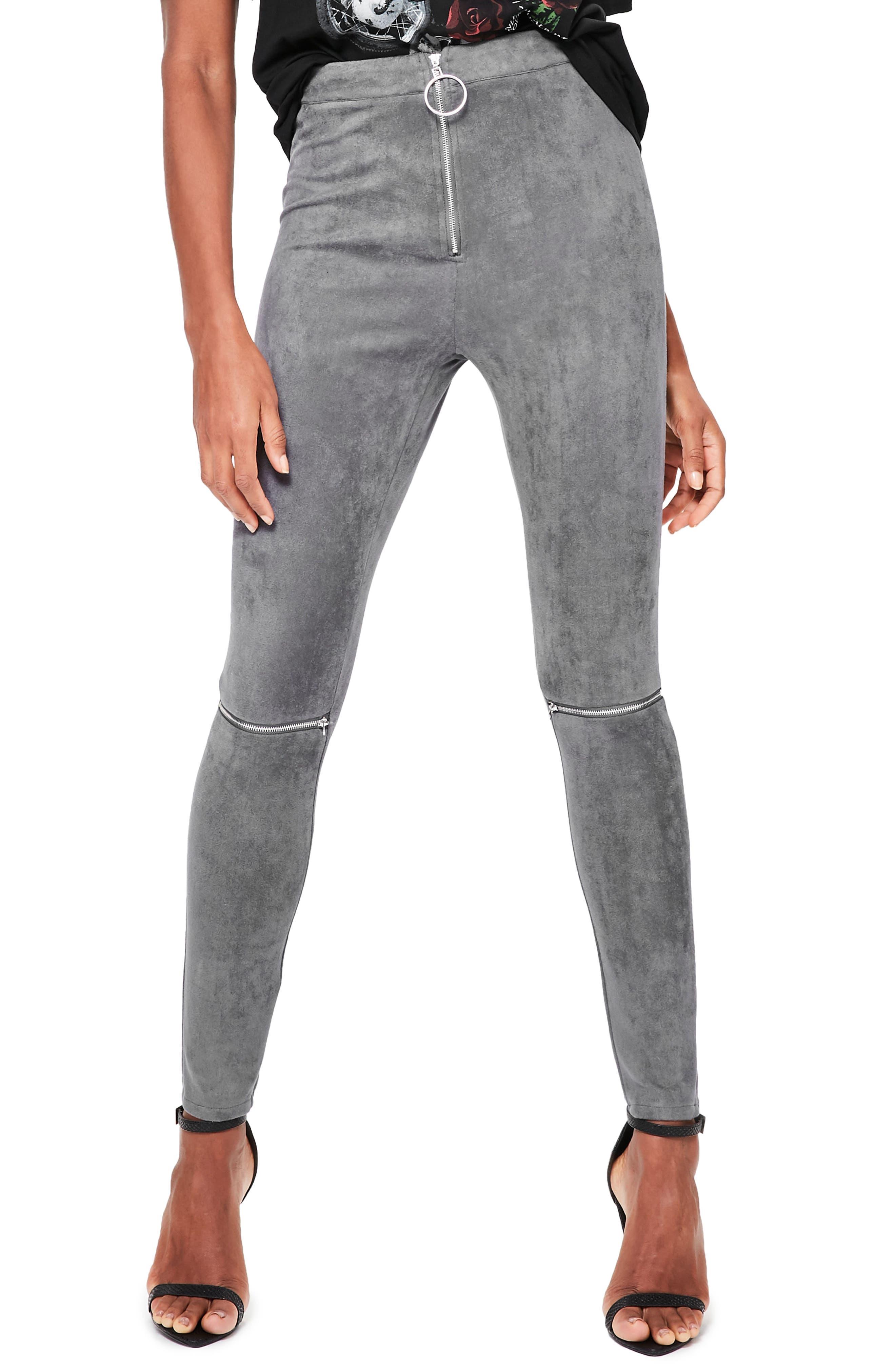 Faux Suede Zip Leggings,                         Main,                         color, Grey