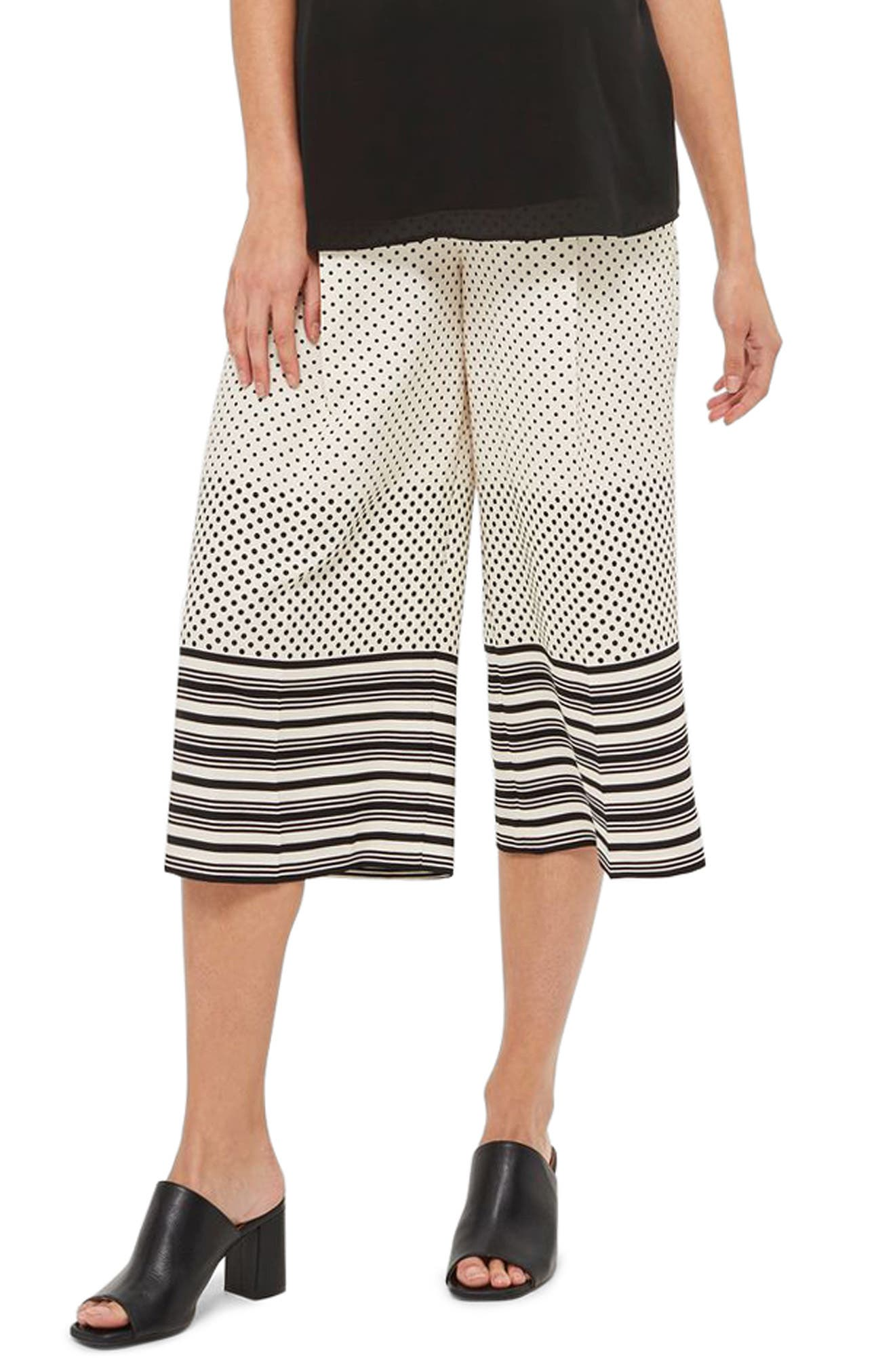 Topshop Spot Stripe Crop Maternity Trousers