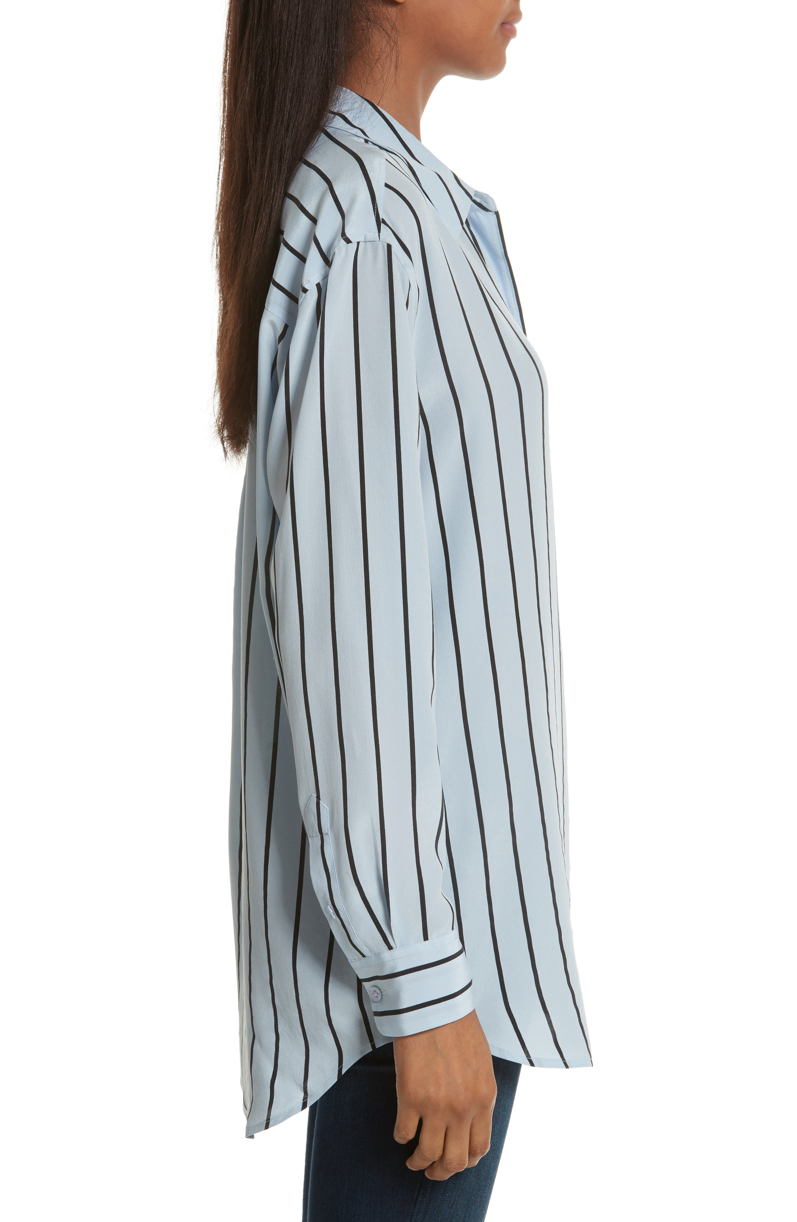 Daddy Oversize Stripe Silk Shirt,                             Alternate thumbnail 3, color,                             Pear Blue/ True Black