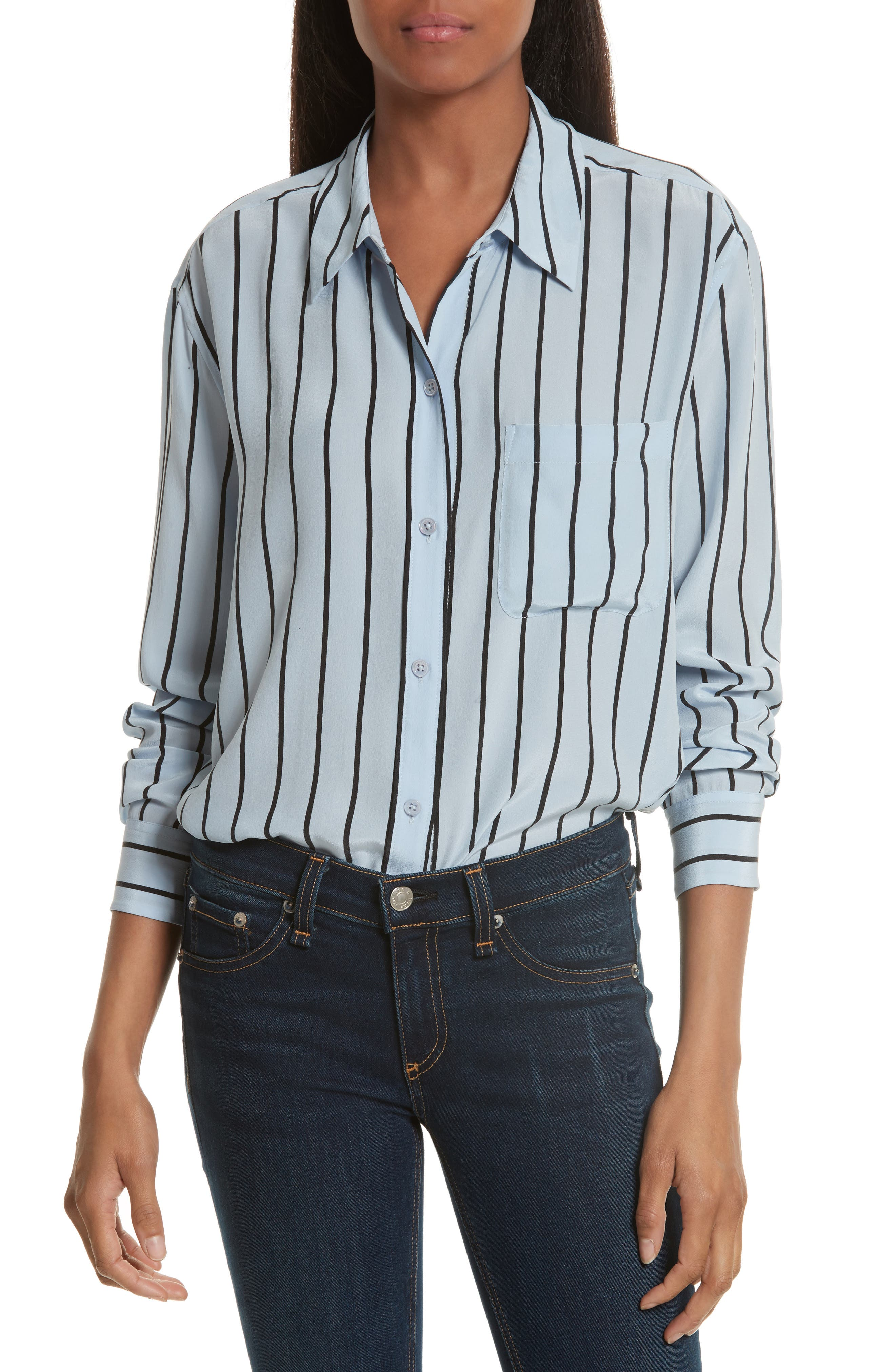 Daddy Oversize Stripe Silk Shirt,                         Main,                         color, Pear Blue/ True Black