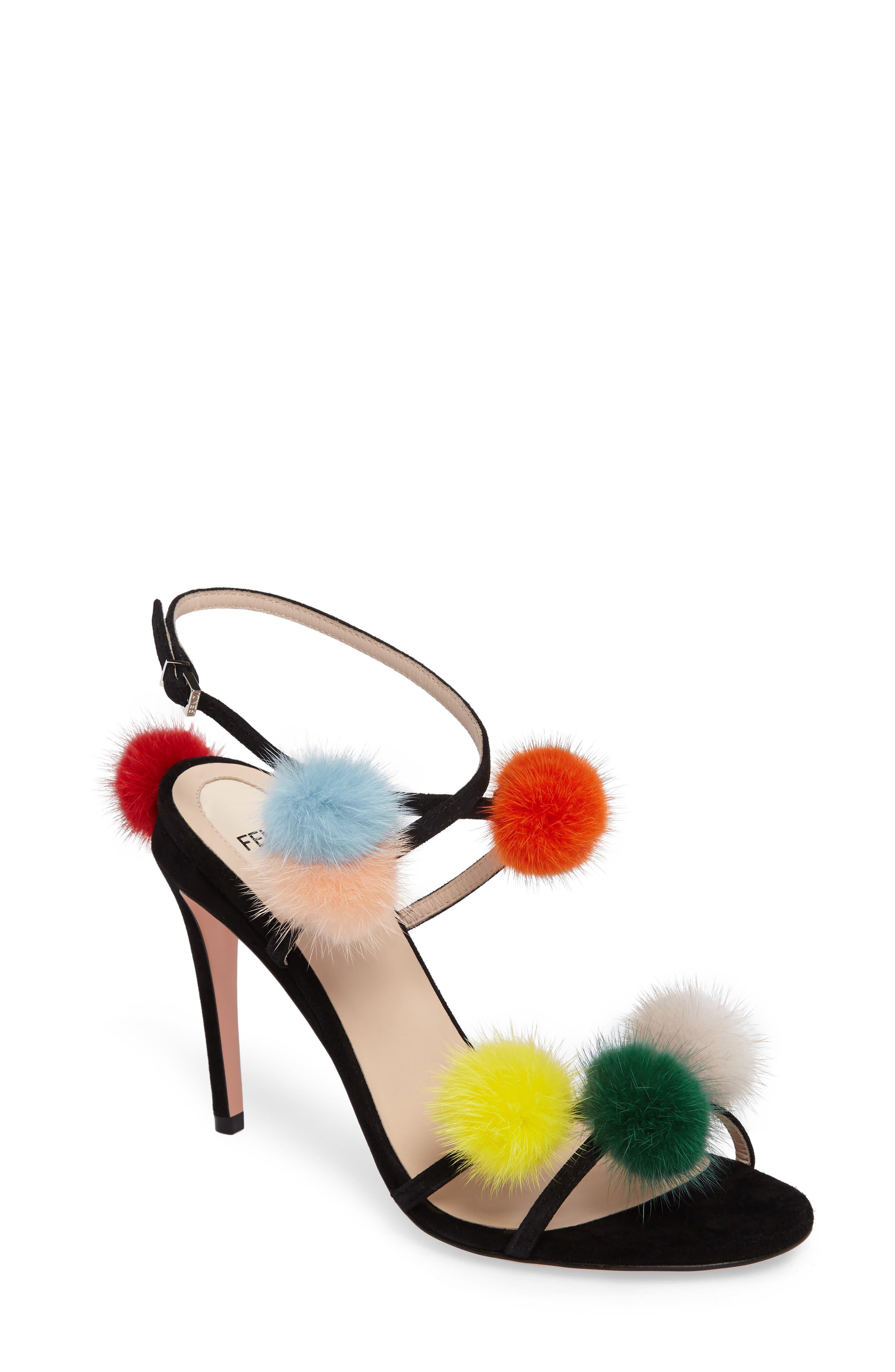 FENDI Genuine Mink Fur Pompom Sandal