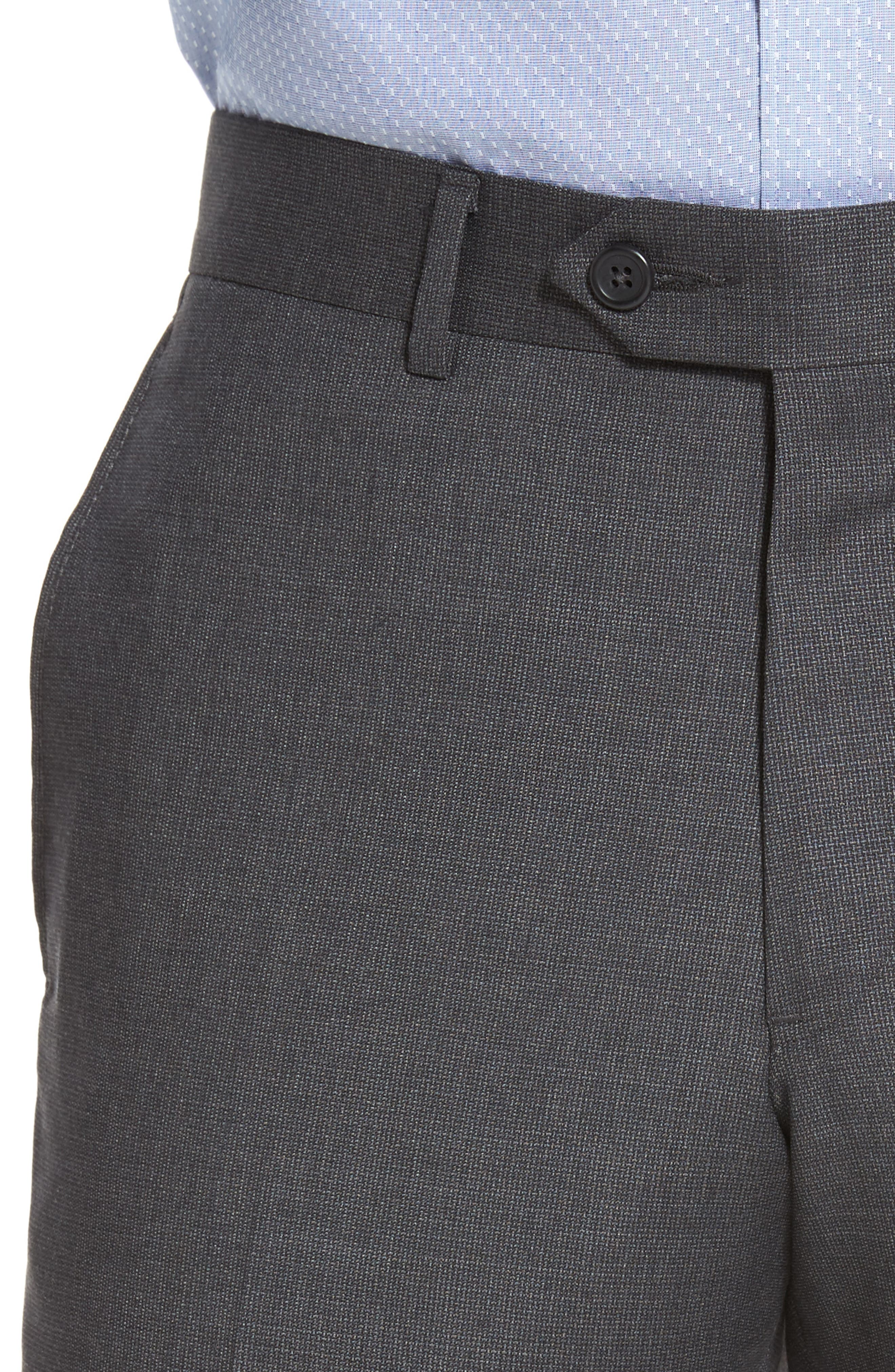 Flat Front Solid Wool Suit Trousers,                             Alternate thumbnail 4, color,                             Charcoal