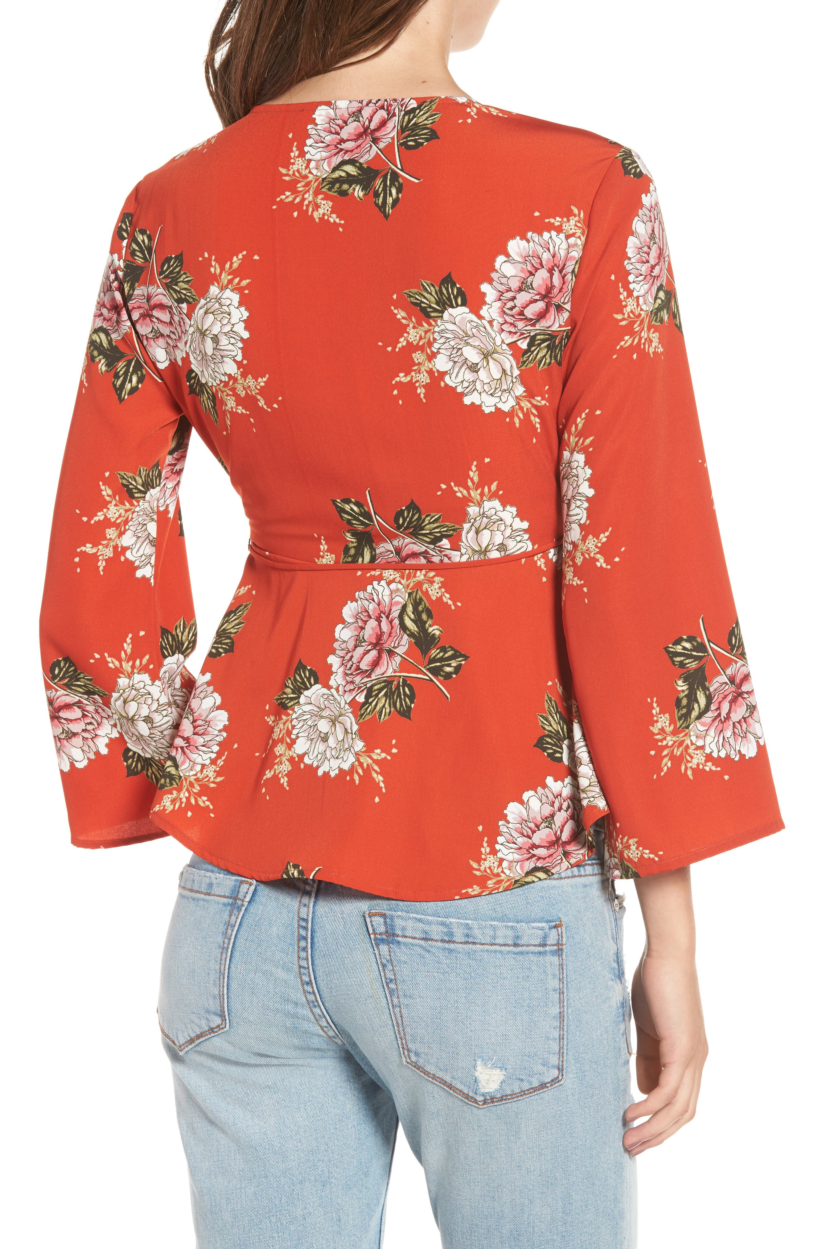 Wrap Top,                             Alternate thumbnail 2, color,                             Red Multi Floral