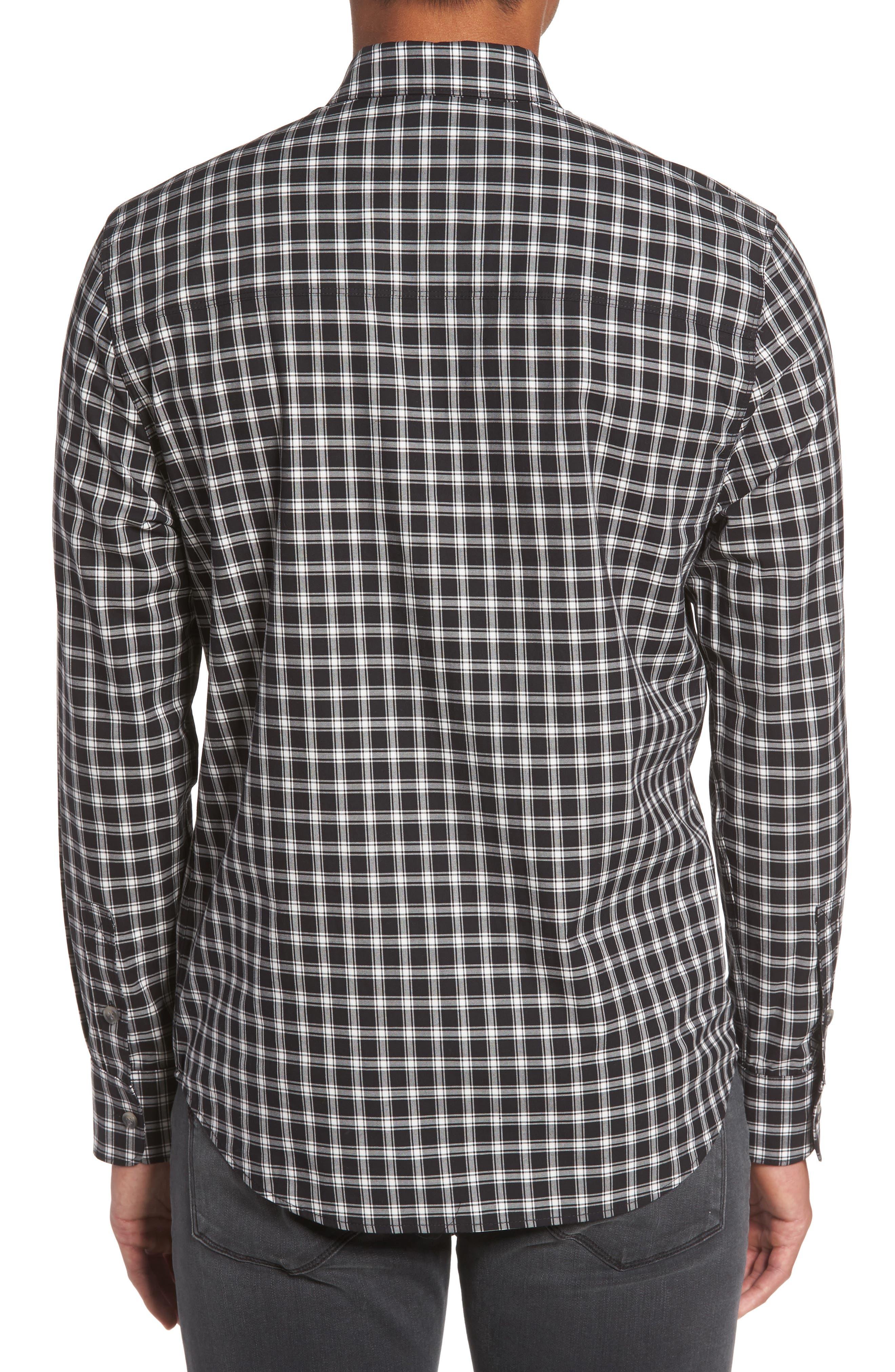 Everett Check Sport Shirt,                             Alternate thumbnail 2, color,                             Black Slate