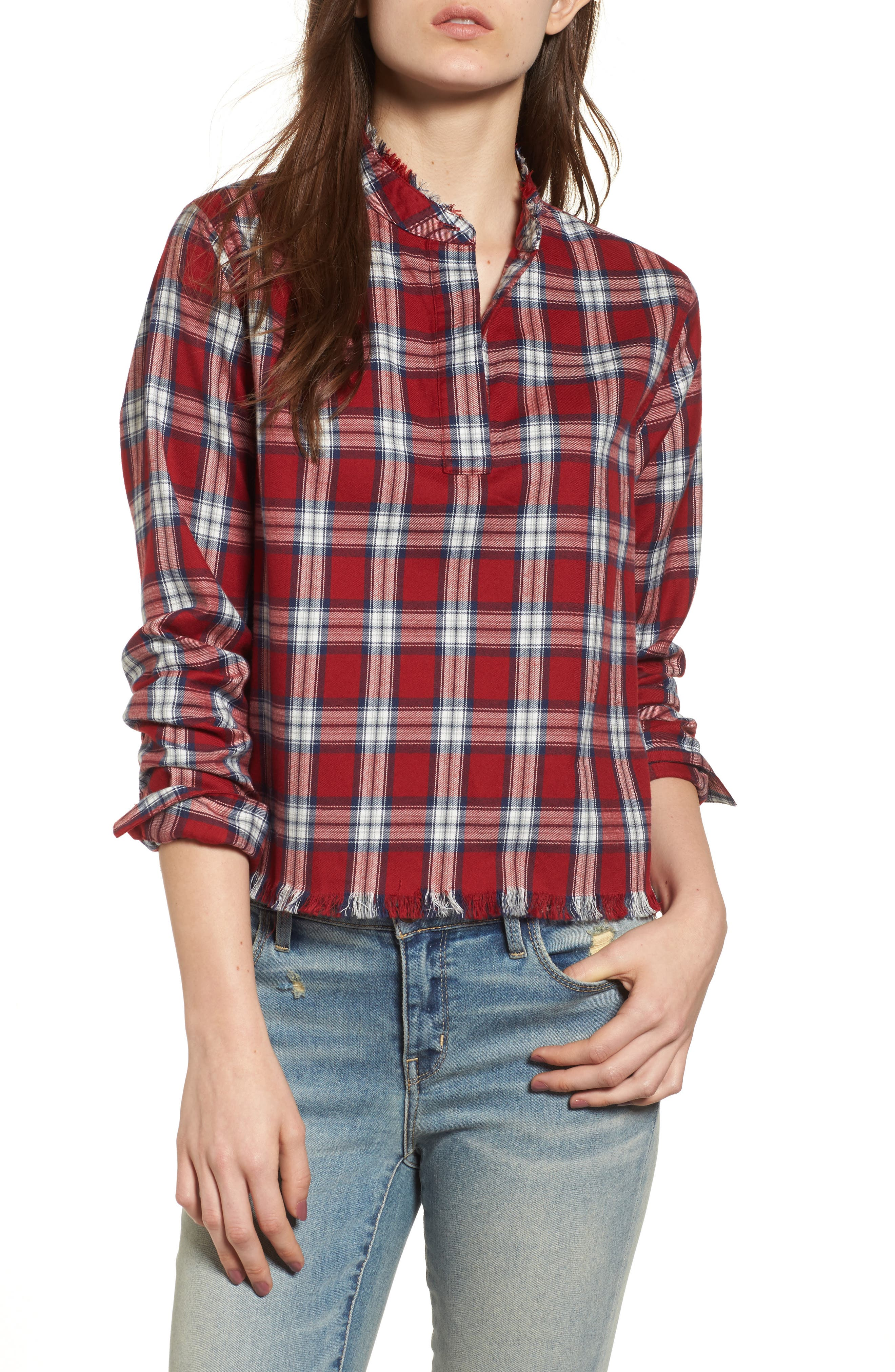 x The Blue Shirt Shop W 3rd & Sullivan Crop Shirt,                         Main,                         color, Red Plaid
