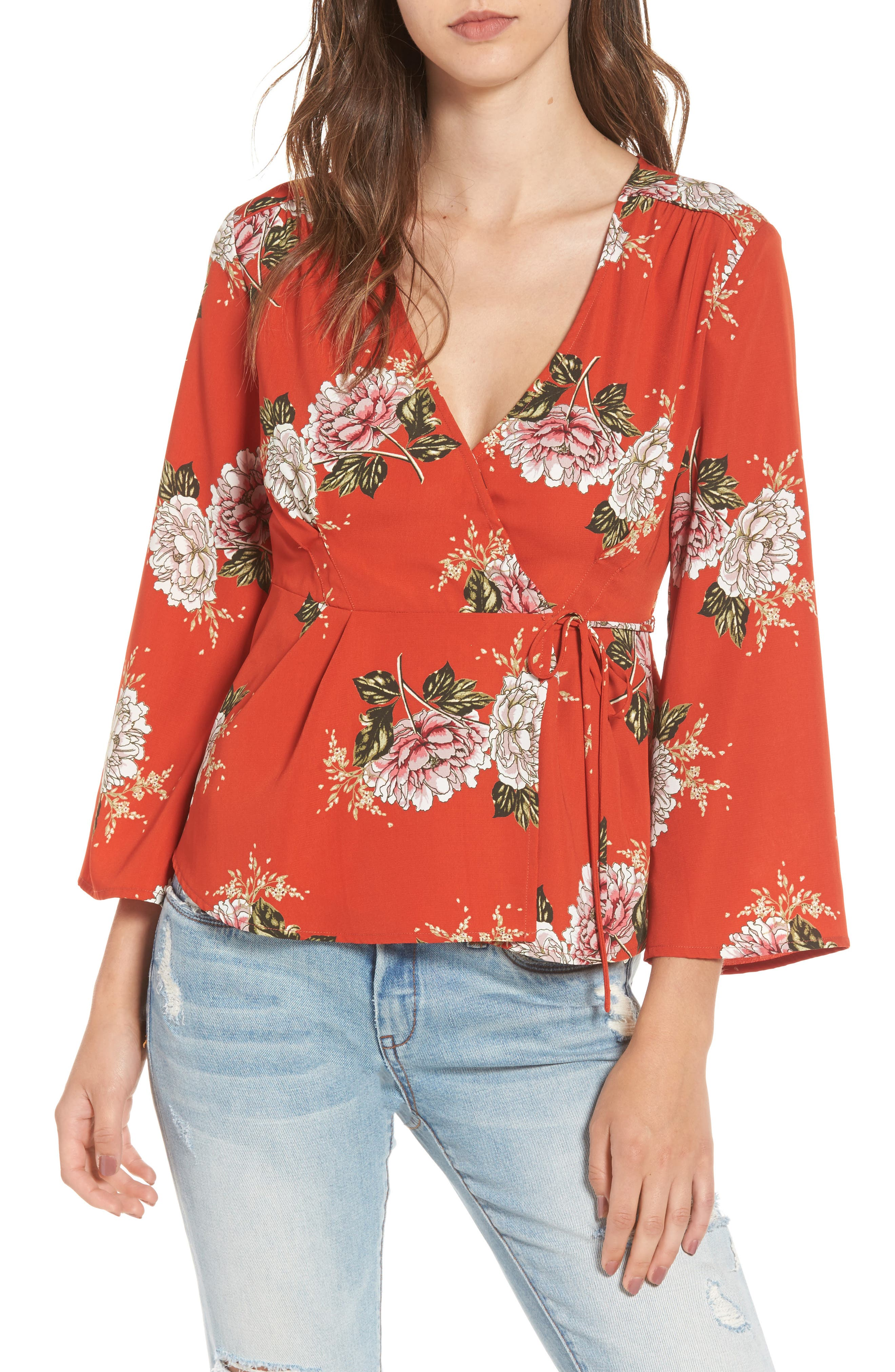 Wrap Top,                             Main thumbnail 1, color,                             Red Multi Floral