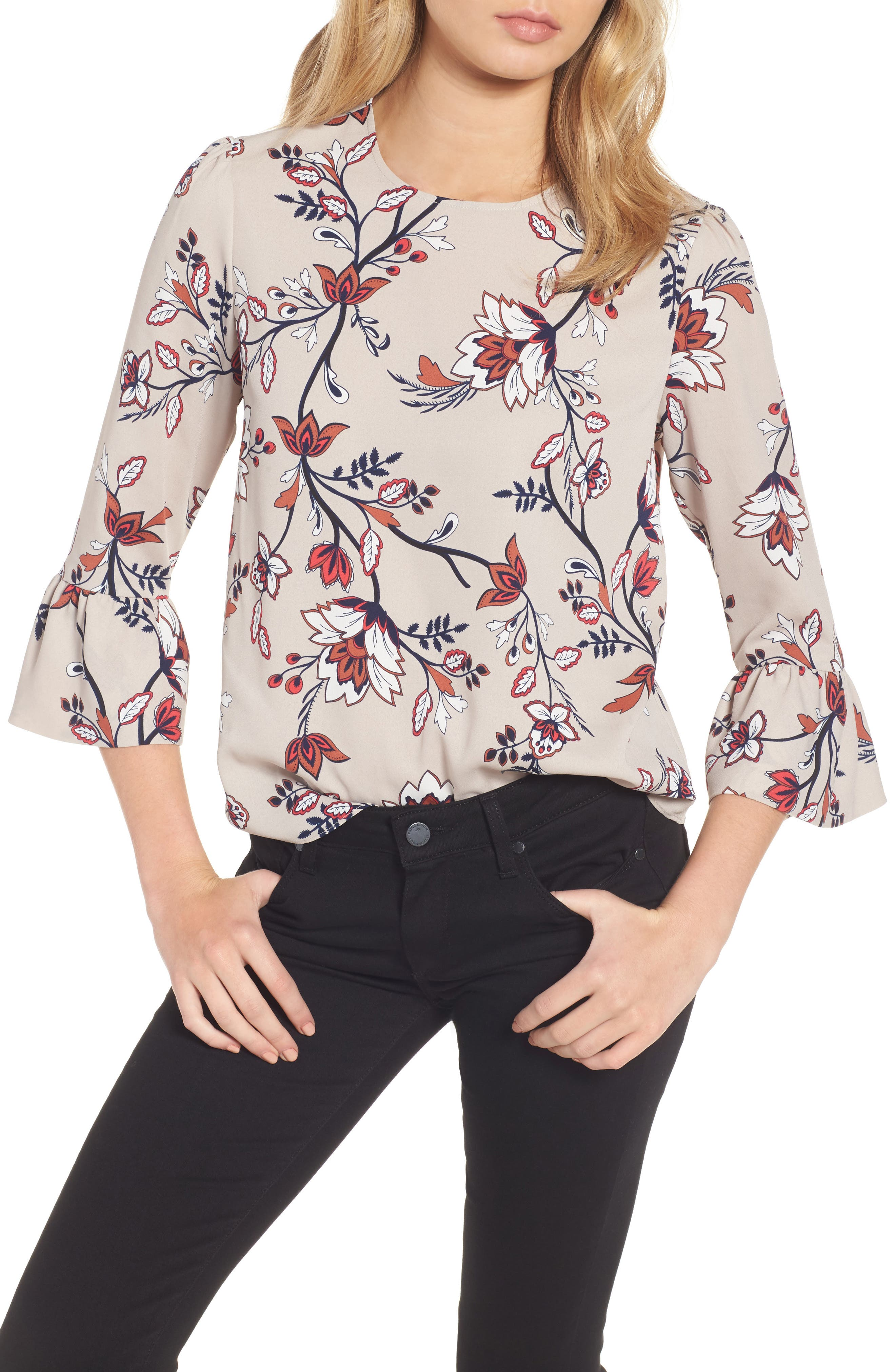 Greta Bell Sleeve Blouse,                         Main,                         color, Sand Floral Print