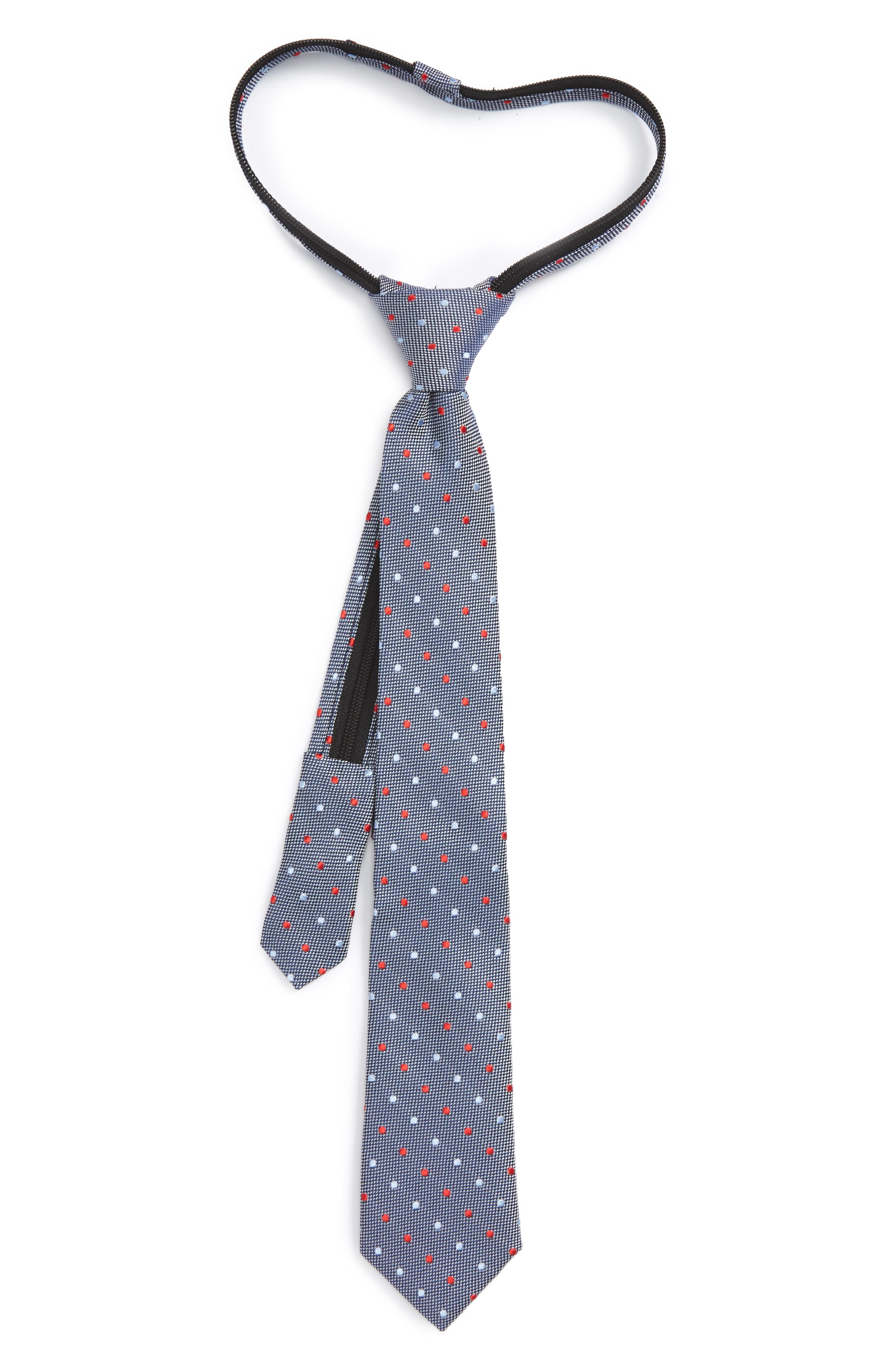 Dot Silk Zip Tie,                             Main thumbnail 1, color,                             Night Blue