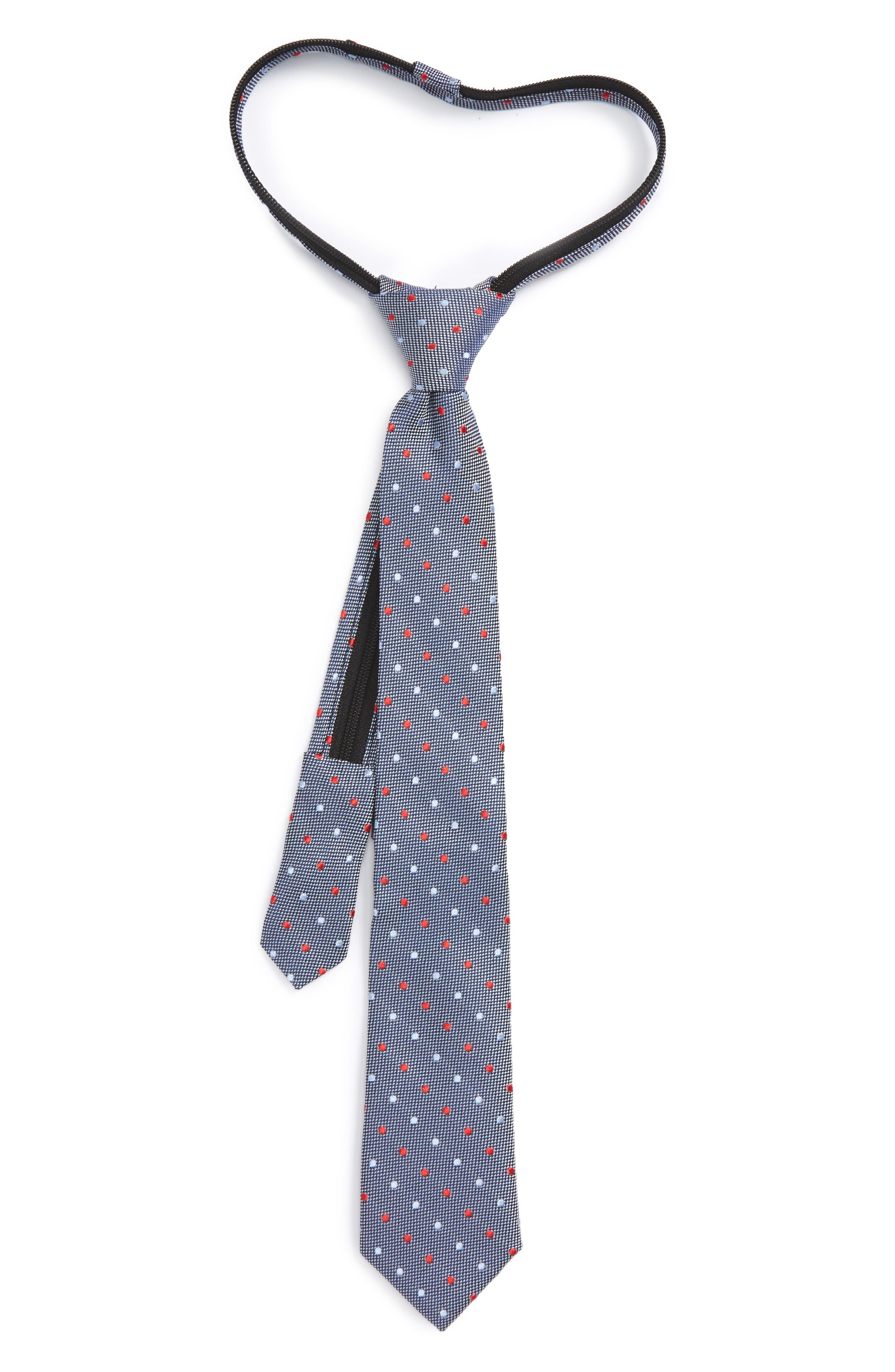Dot Silk Zip Tie,                         Main,                         color, Night Blue