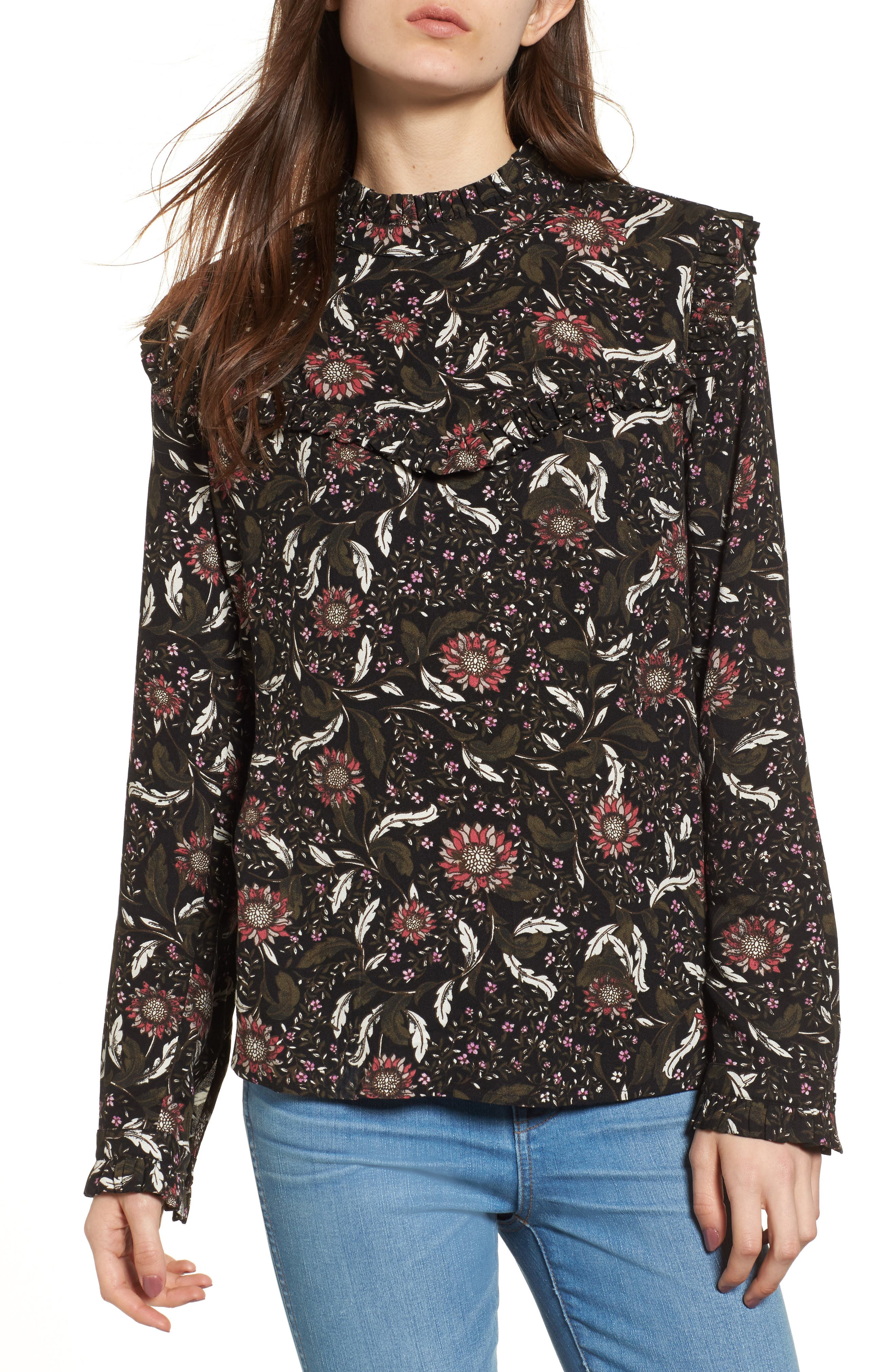 Ruffle Top,                         Main,                         color, Black Crowded Floral