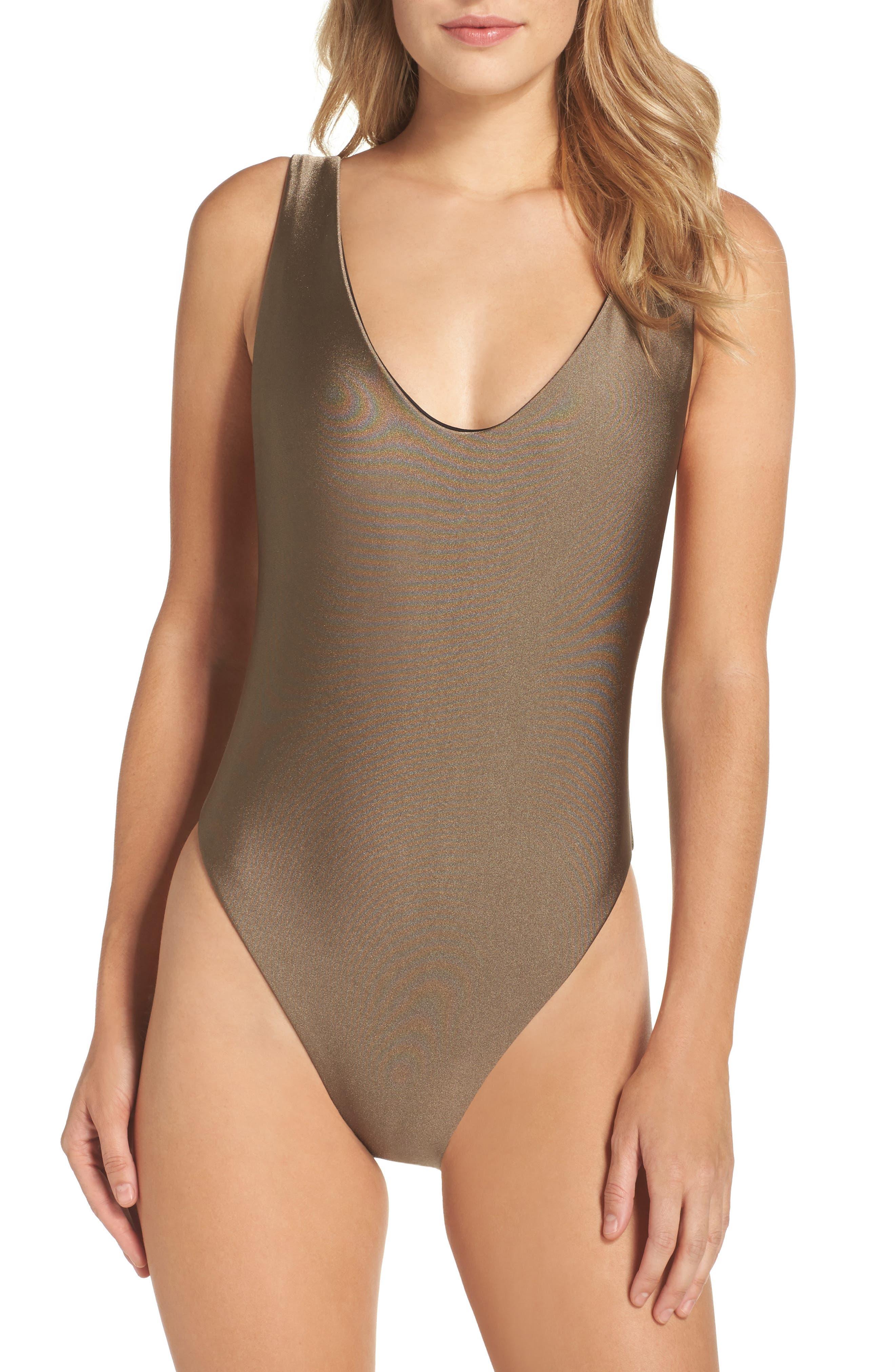Reversible One-Piece Swimsuit,                         Main,                         color, Mink