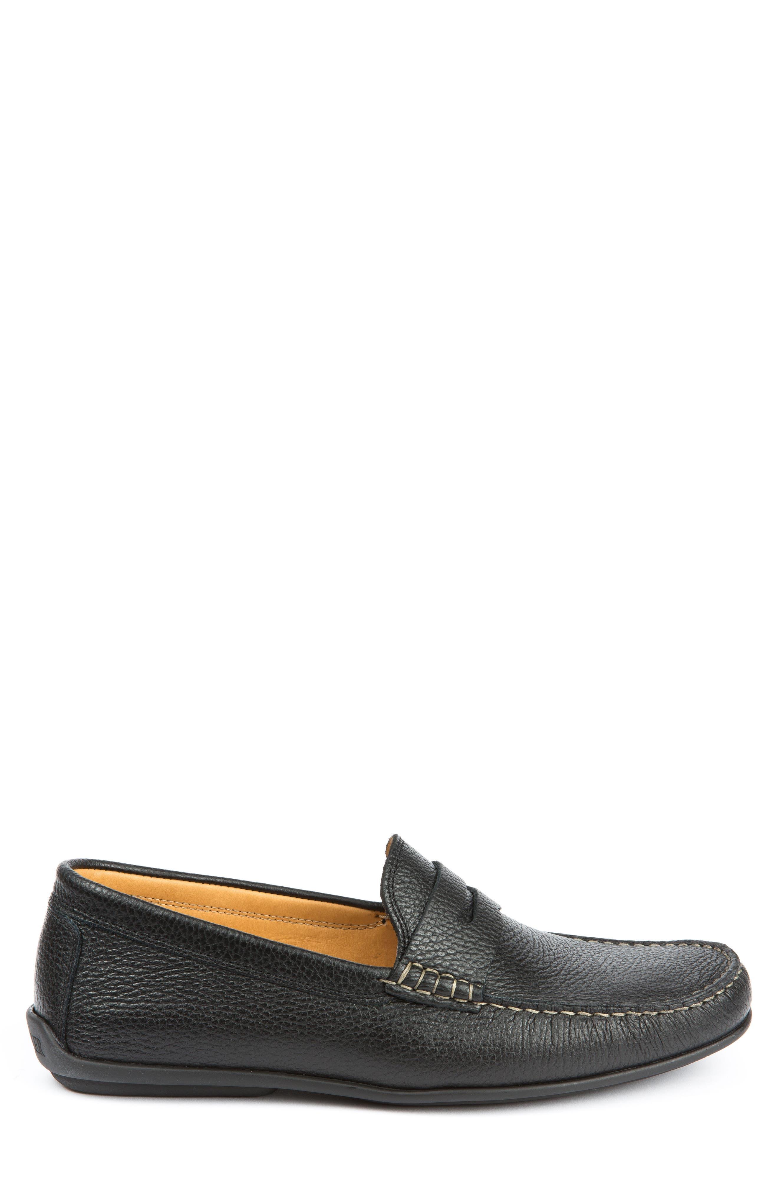 Hudsons Driving Shoe,                             Alternate thumbnail 3, color,                             Black Grain