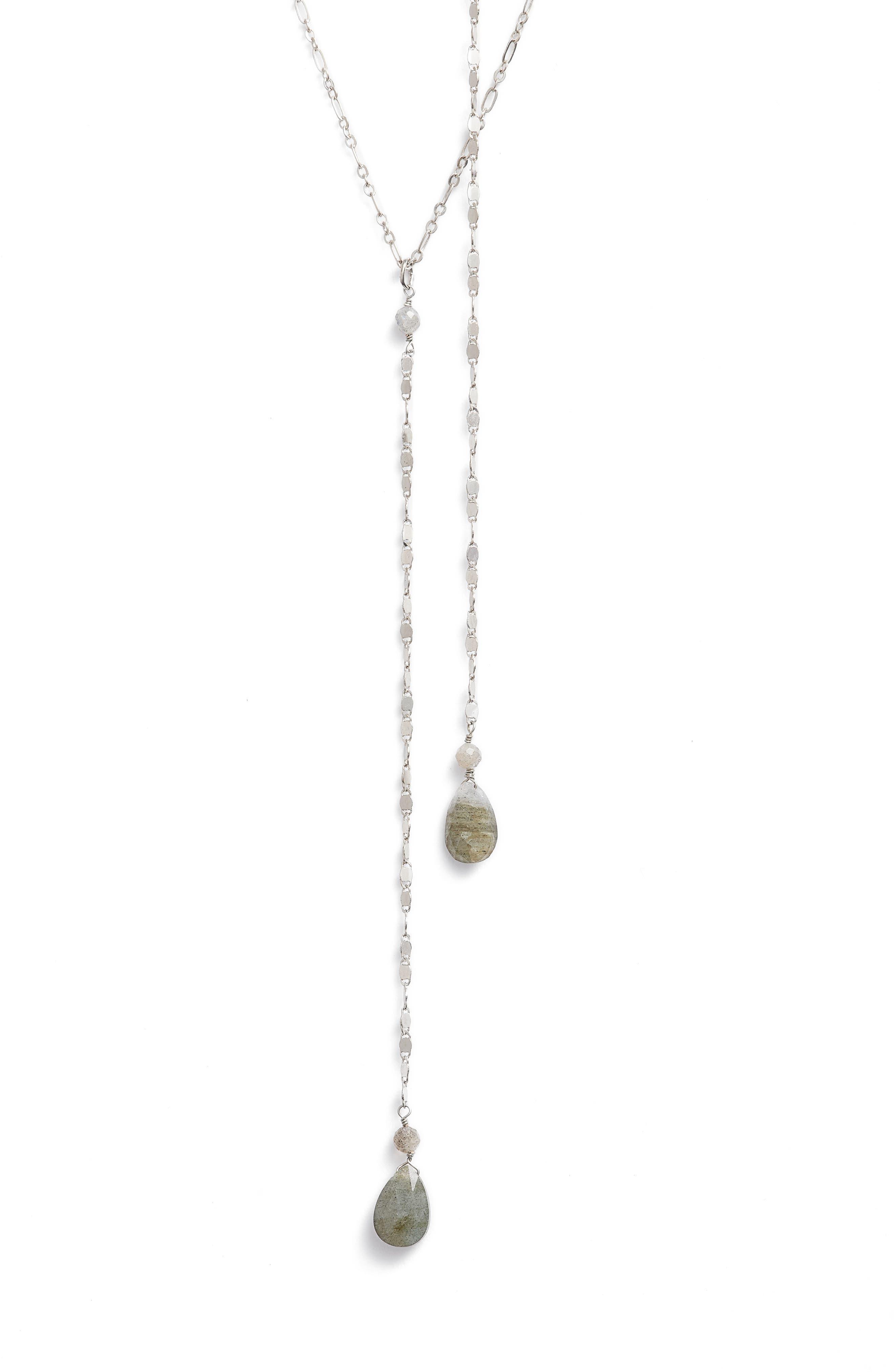 Labradorite Y-Necklace,                             Main thumbnail 1, color,                             Silver/ Labradorite