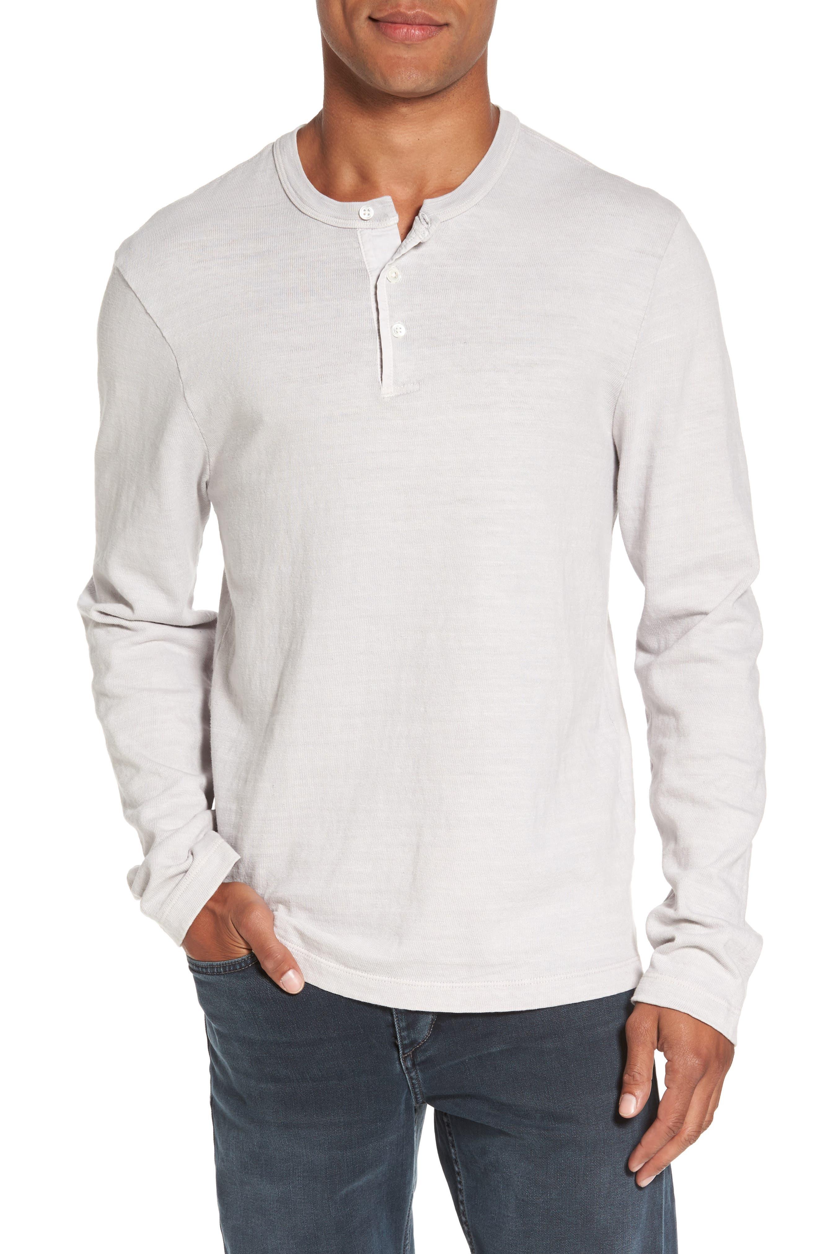 Long Sleeve Henley T-Shirt,                         Main,                         color, Concrete Dust Pigment