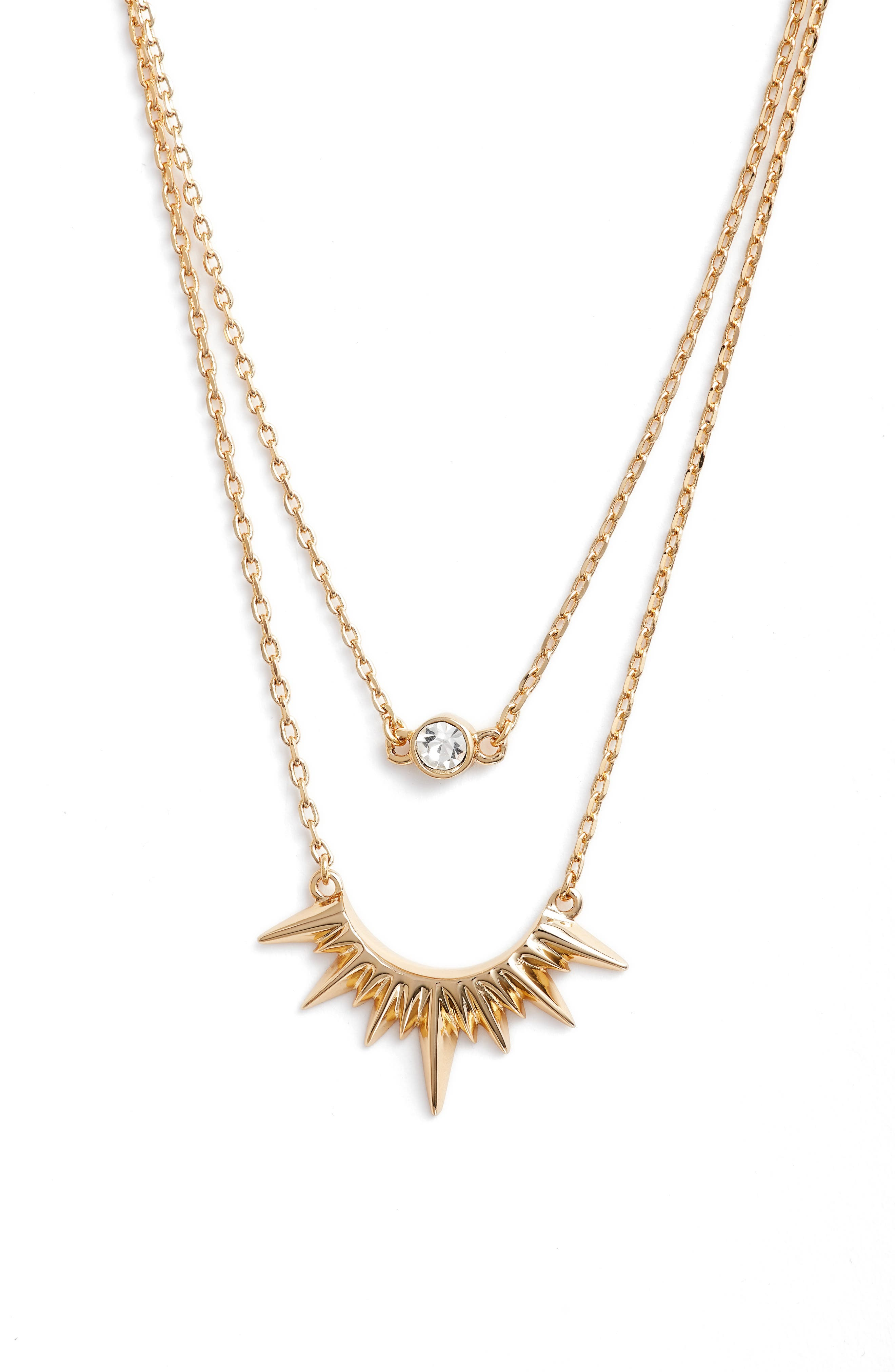 Magella Multistrand Pendant Necklace,                         Main,                         color, Gold/ Clear
