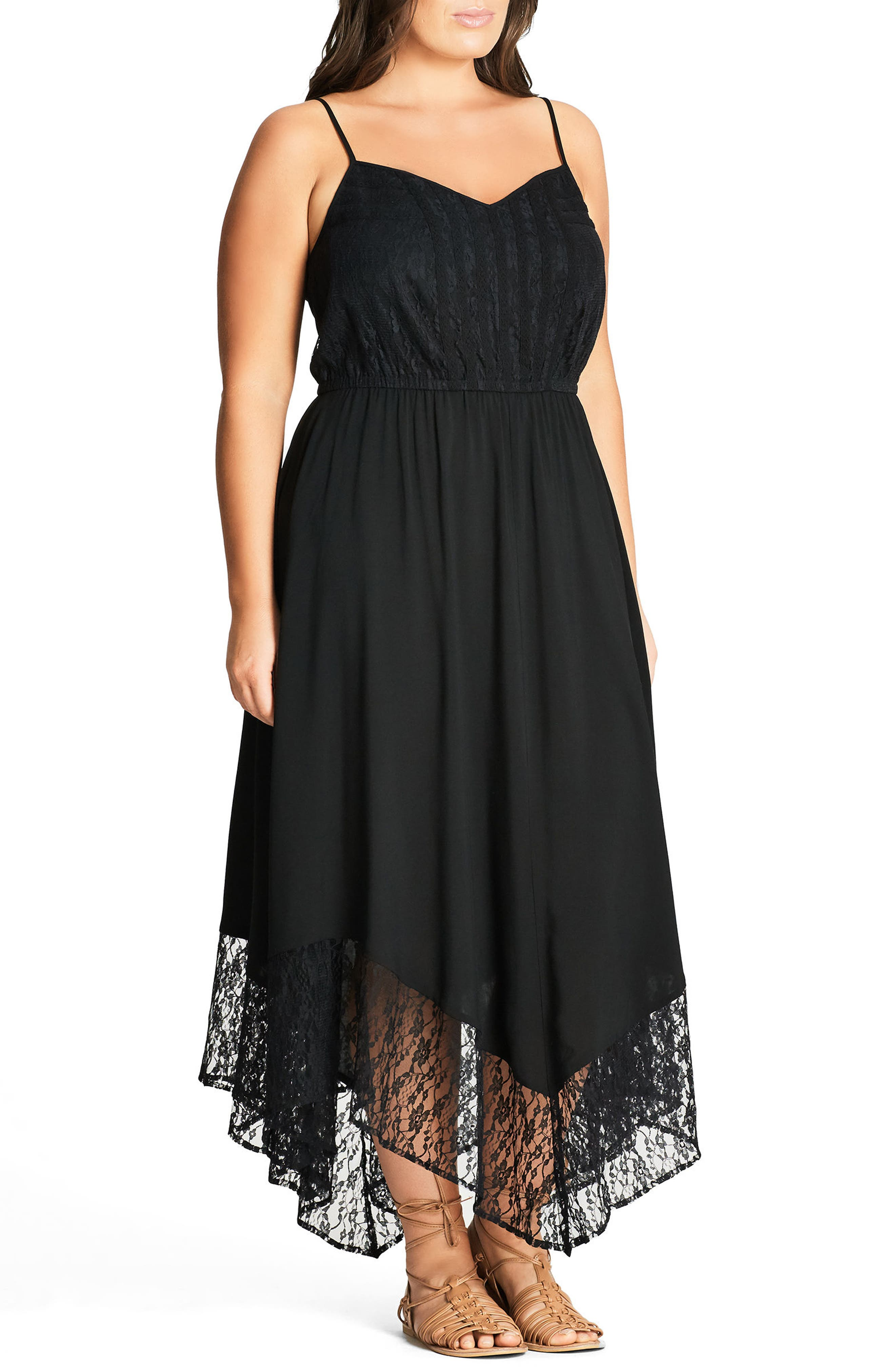 City Chic Lace Trim Maxi Dress (Plus Size)