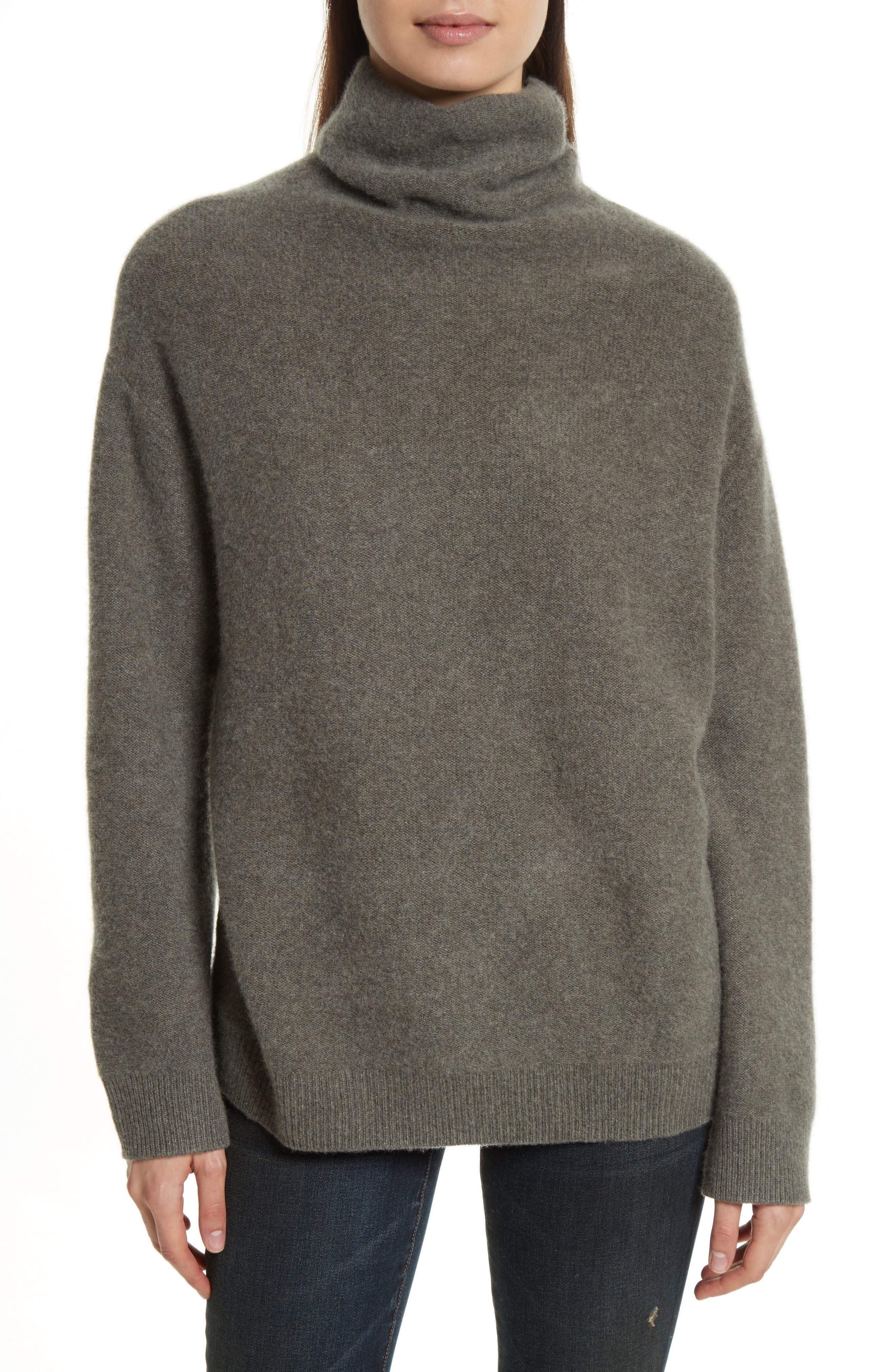 Boxy Mock Neck Cashmere Sweater,                             Main thumbnail 1, color,                             Desert Sage
