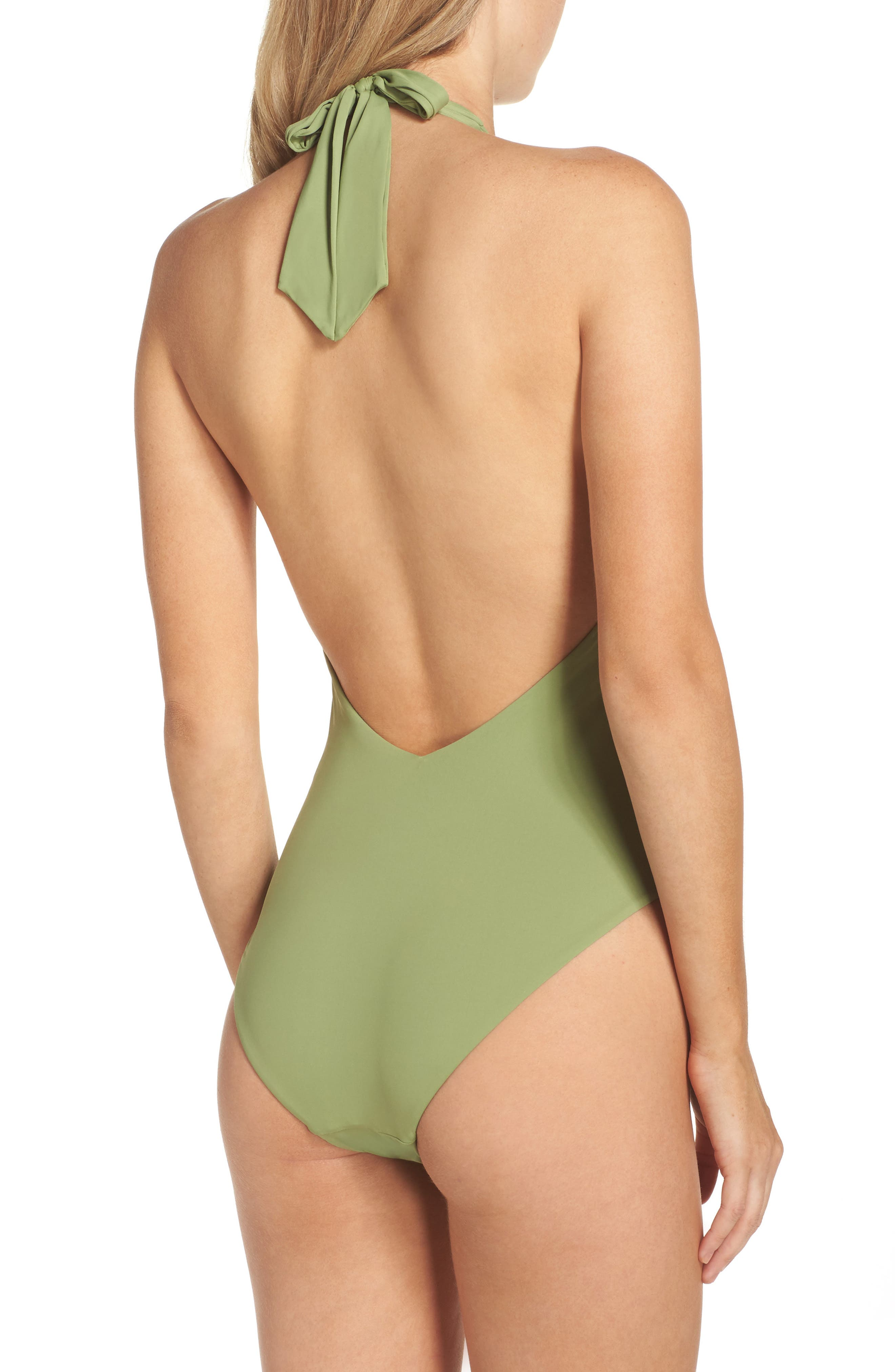 Lace-Up One-Piece Halter Swimsuit,                             Alternate thumbnail 2, color,                             Moss
