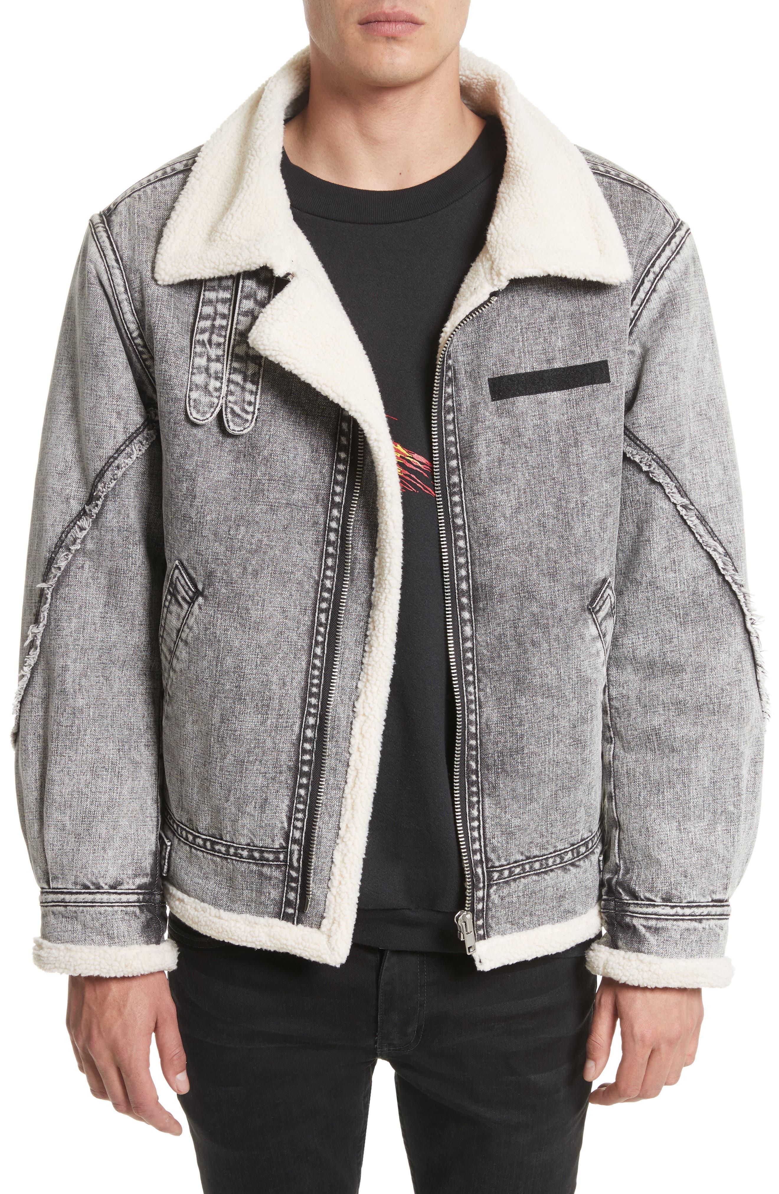 Denim Bomber Jacket,                         Main,                         color, Black Acid