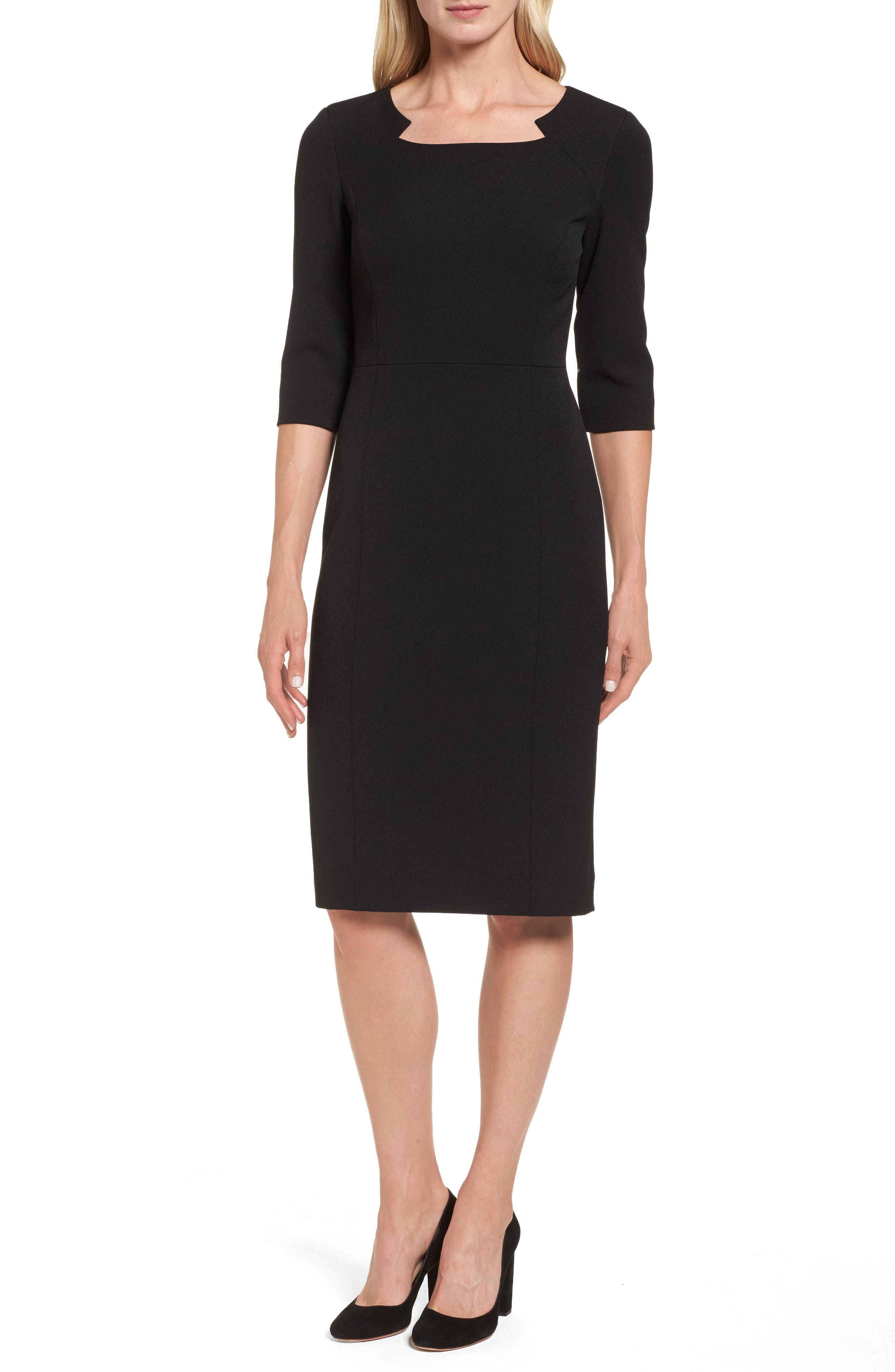 Stretch Sheath Dress,                         Main,                         color, Black Caviar