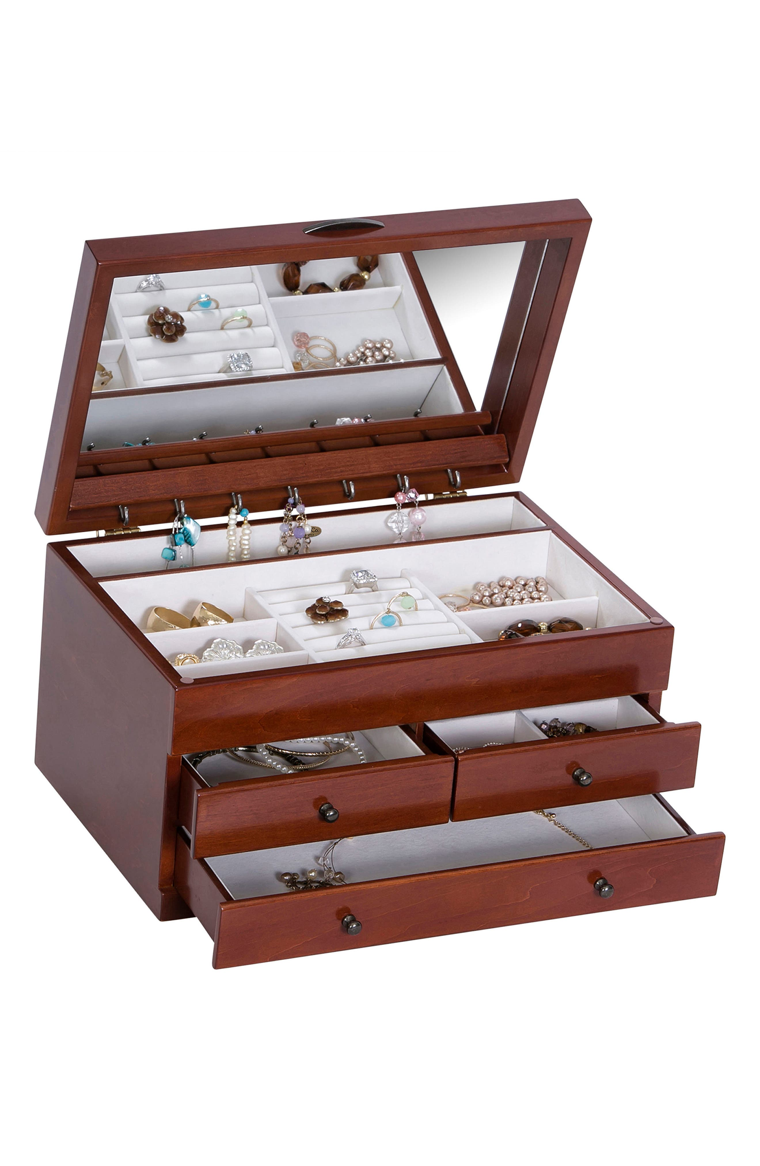 Fairhaven Wooden Jewelry Box,                             Alternate thumbnail 2, color,                             Brown