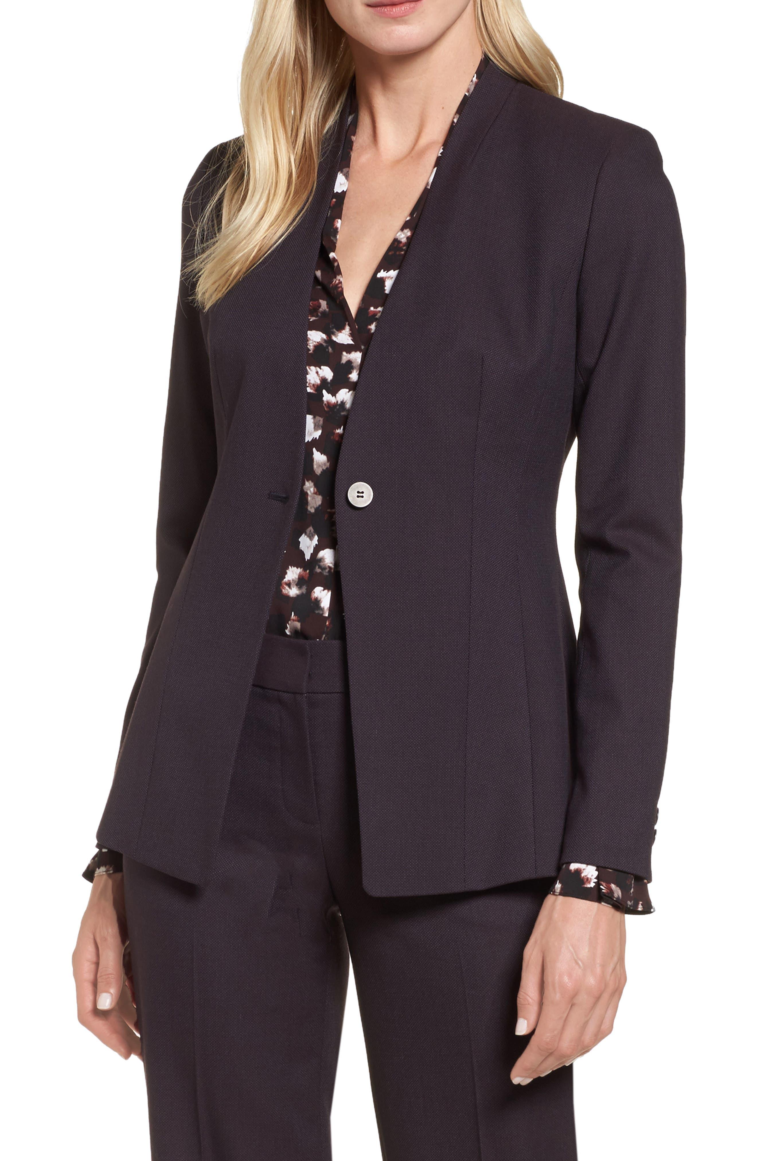 One-Button Suit Jacket,                             Main thumbnail 1, color,                             Burgundy