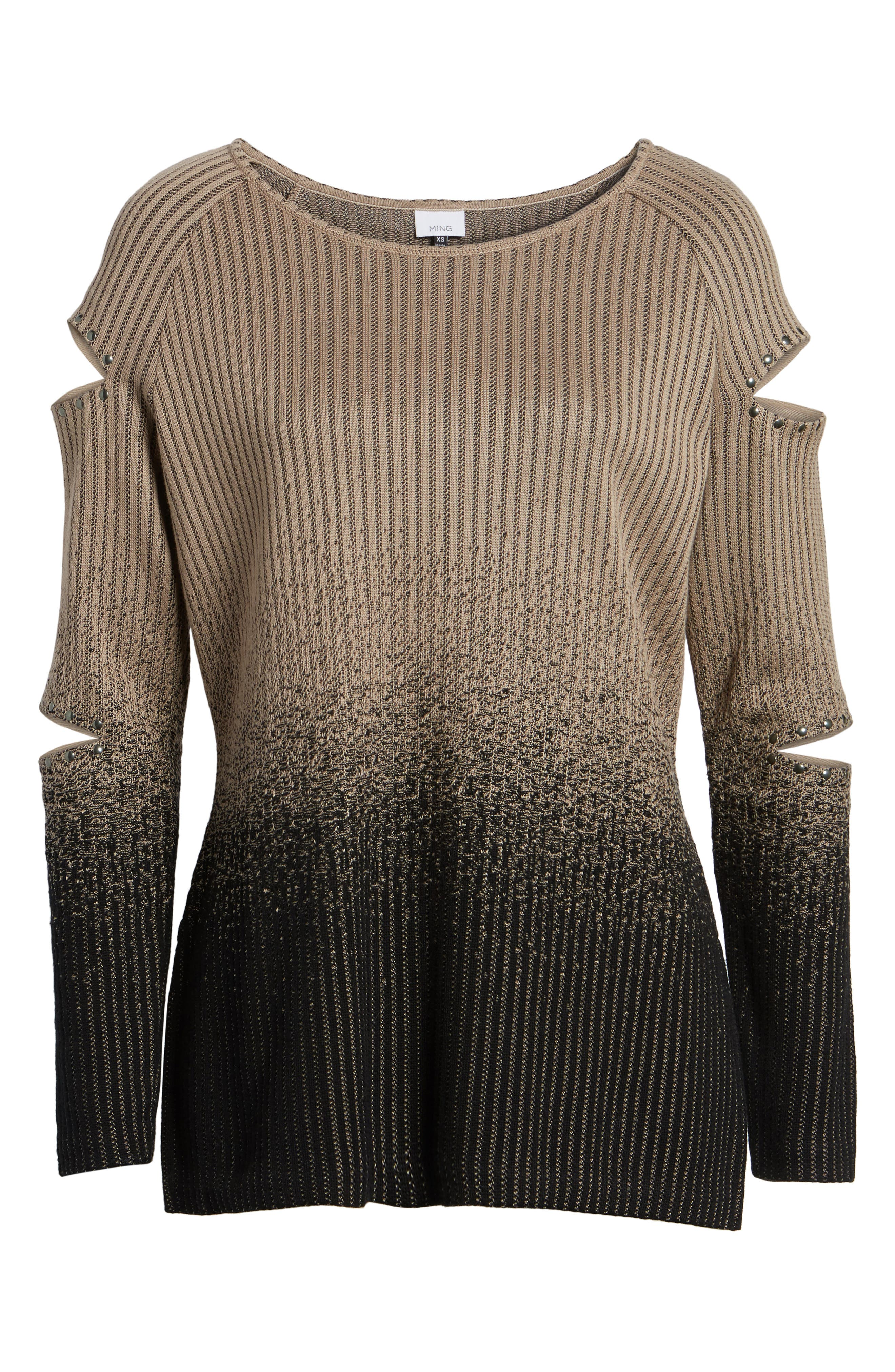 Alternate Image 6  - Ming Wang Cutout Sleeve Ribbed Sweater