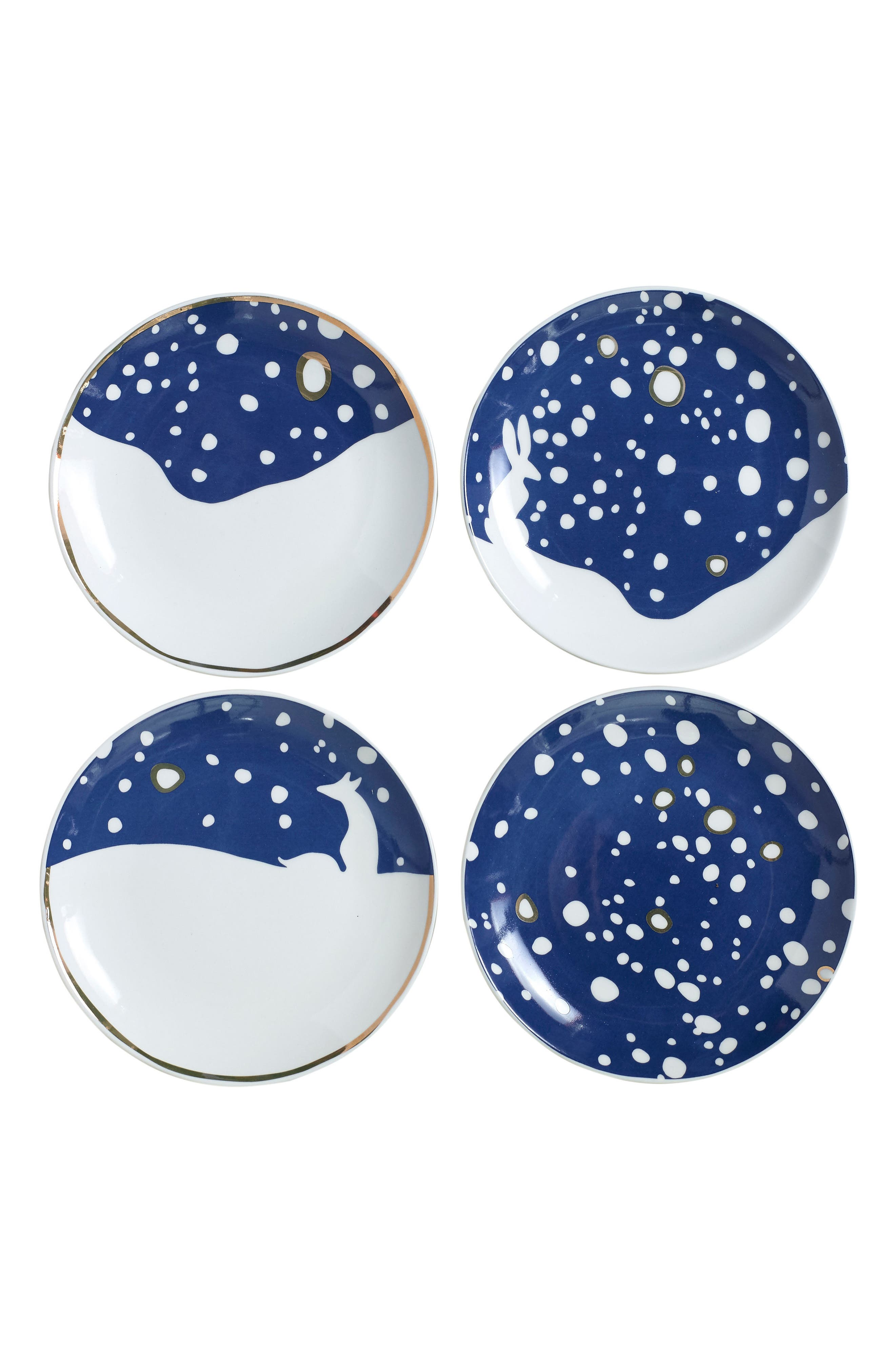 Eric & Eloise Snowy Set of 4 Assorted Plates,                             Main thumbnail 1, color,                             Blue