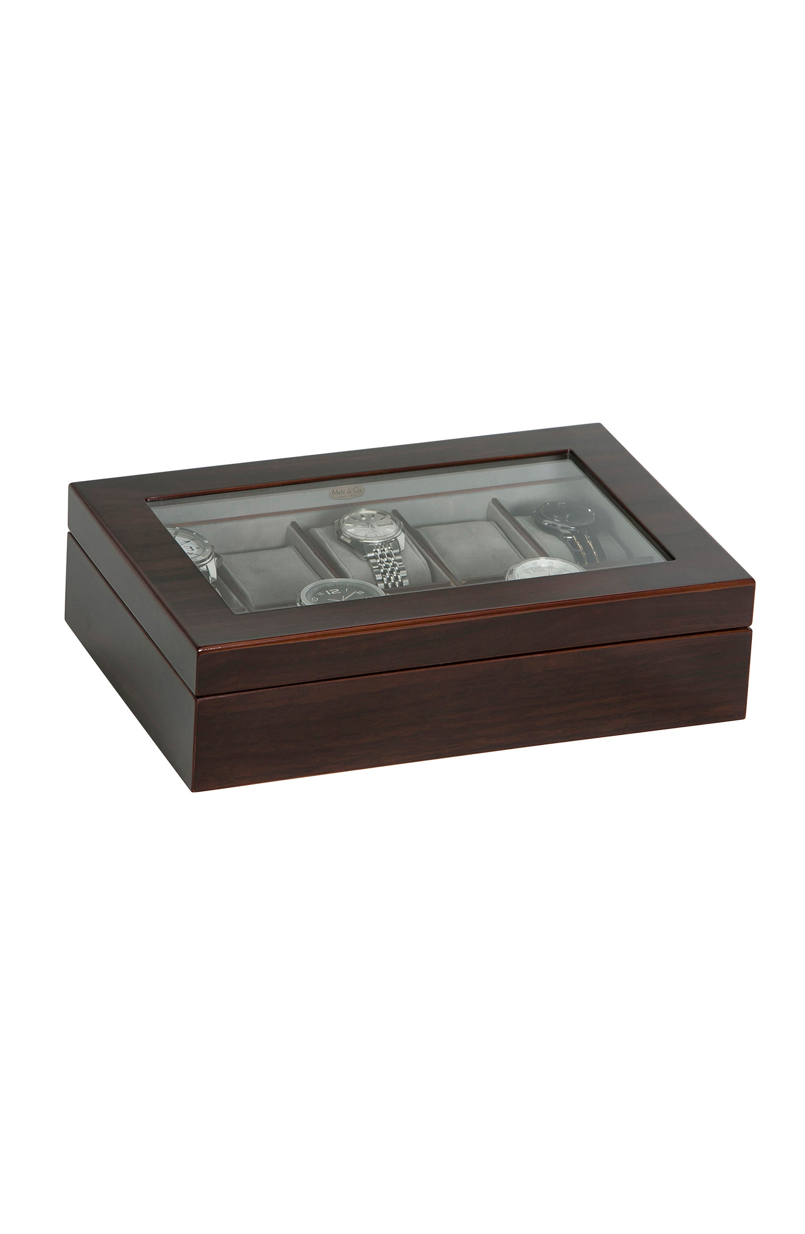 Hudson Glass Top Watch Box,                             Alternate thumbnail 4, color,                             Brown