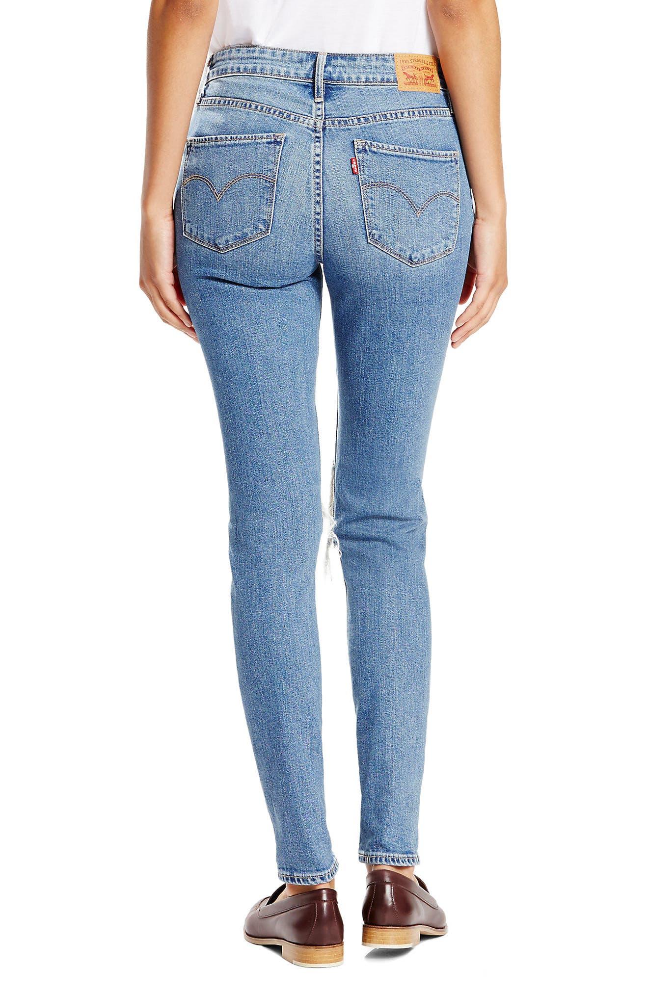 Alternate Image 2  - Levi's® 721 Ripped High Waist Skinny Jeans (Rugged Indigo)