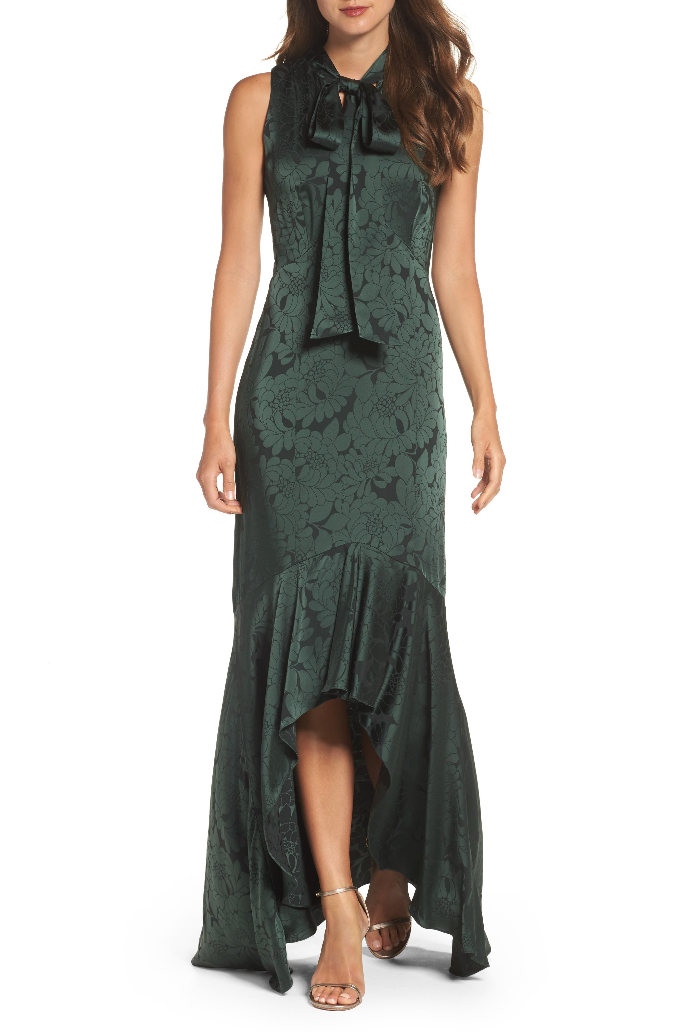 Mayburn Jacquard High/Low Gown,                         Main,                         color, Dark Green