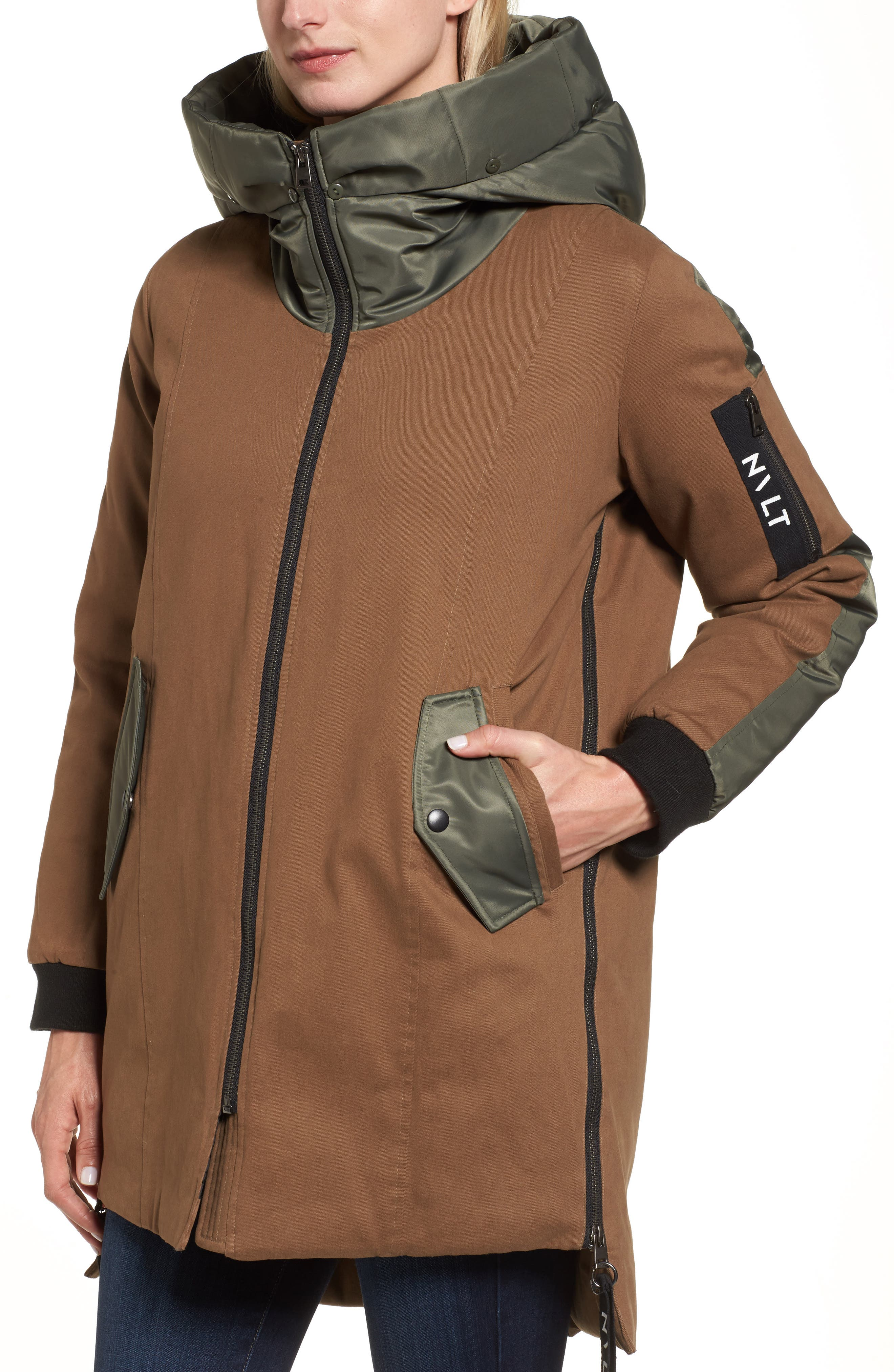 Stretch Cotton Twill Parka,                             Alternate thumbnail 3, color,                             Khaki