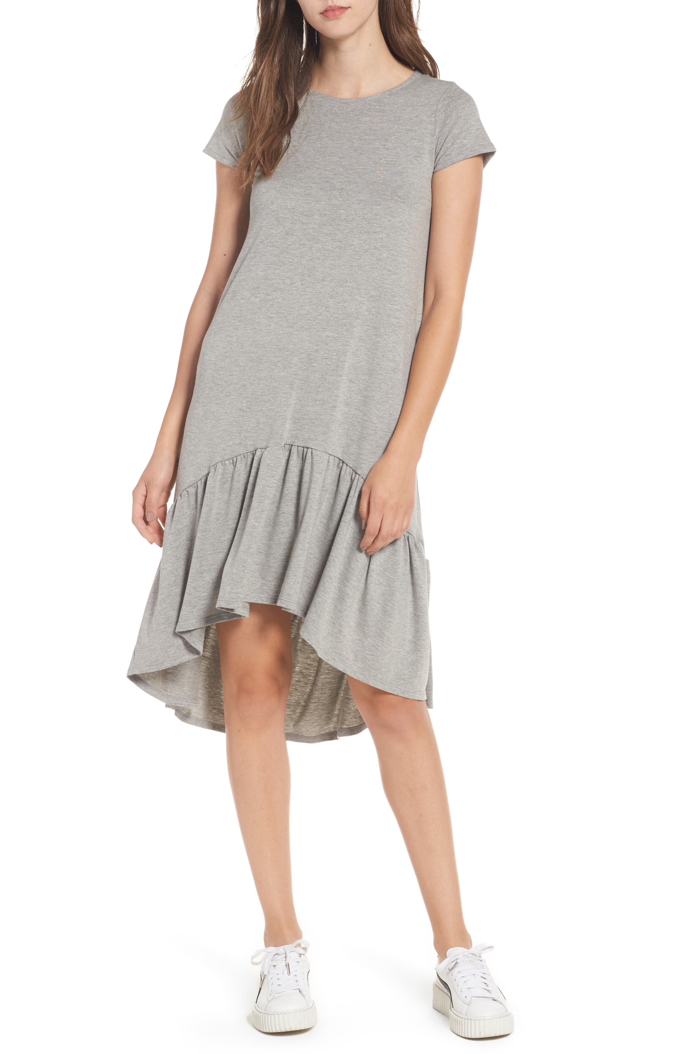Alternate Image 1 Selected - Cotton Emporium Ruffle Hem Knit T-Shirt Dress