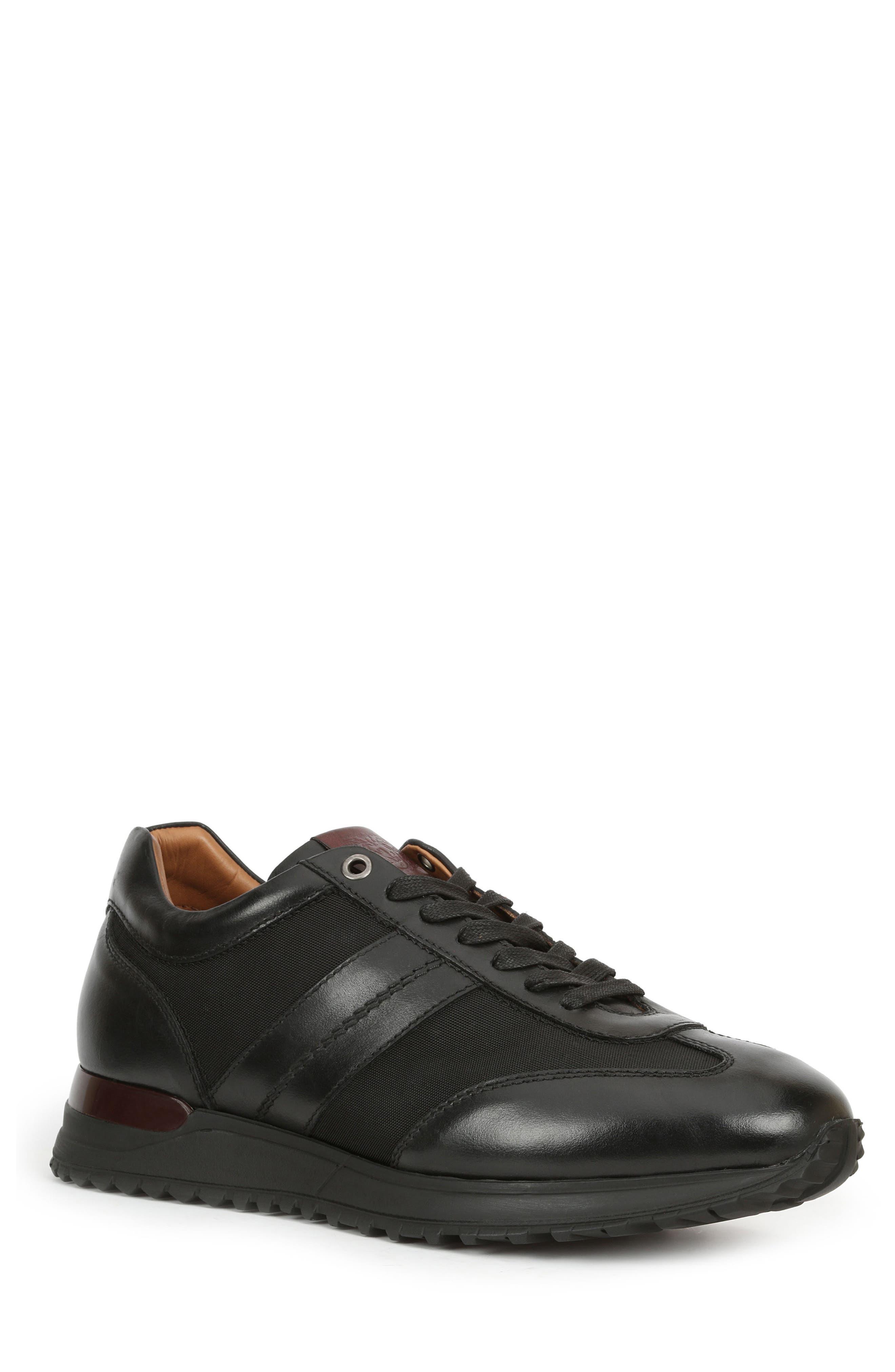 Ikaro Sneaker,                         Main,                         color, Black Leather