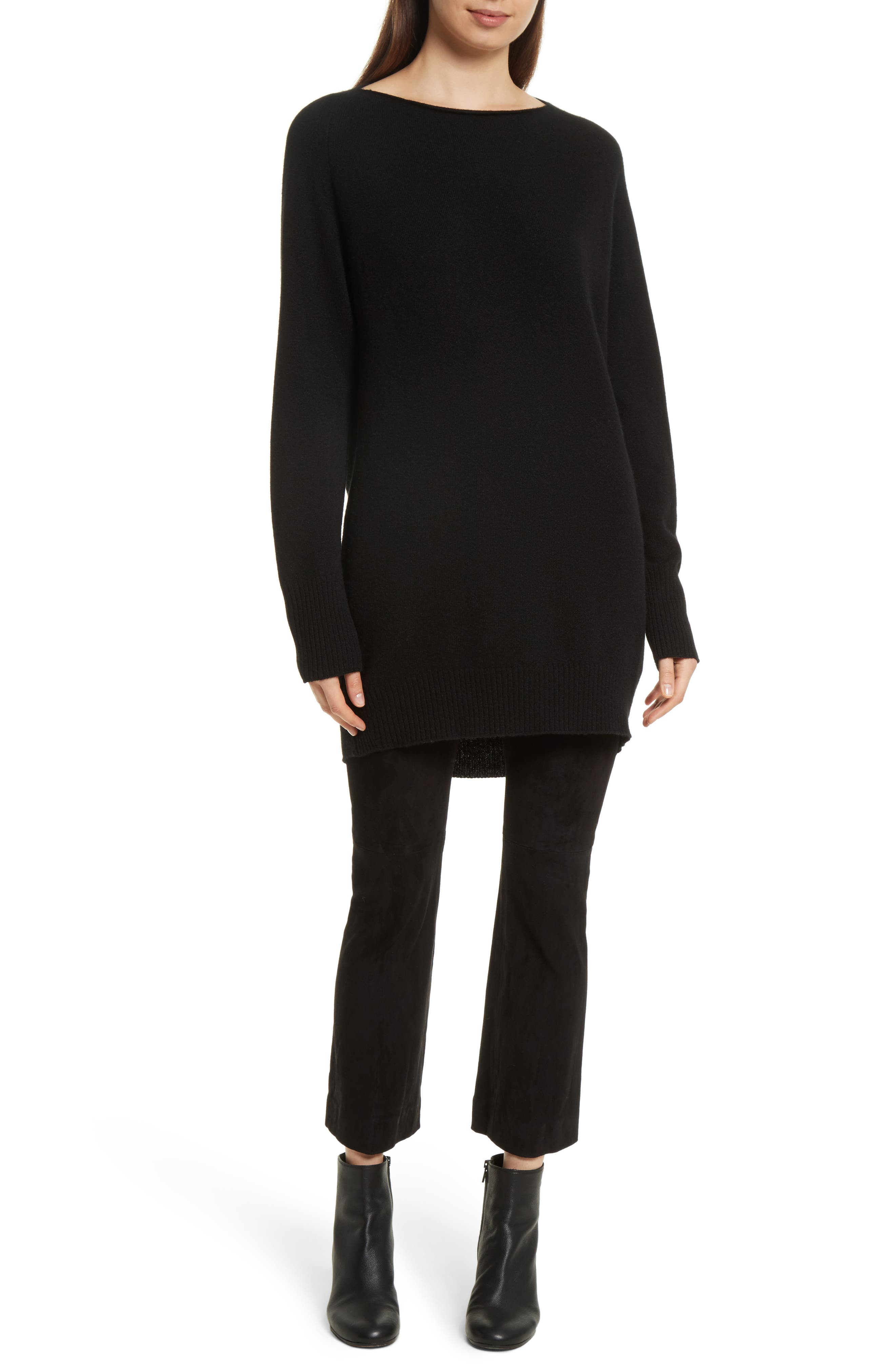 Boatneck Cashmere & Wool Tunic,                         Main,                         color, Black