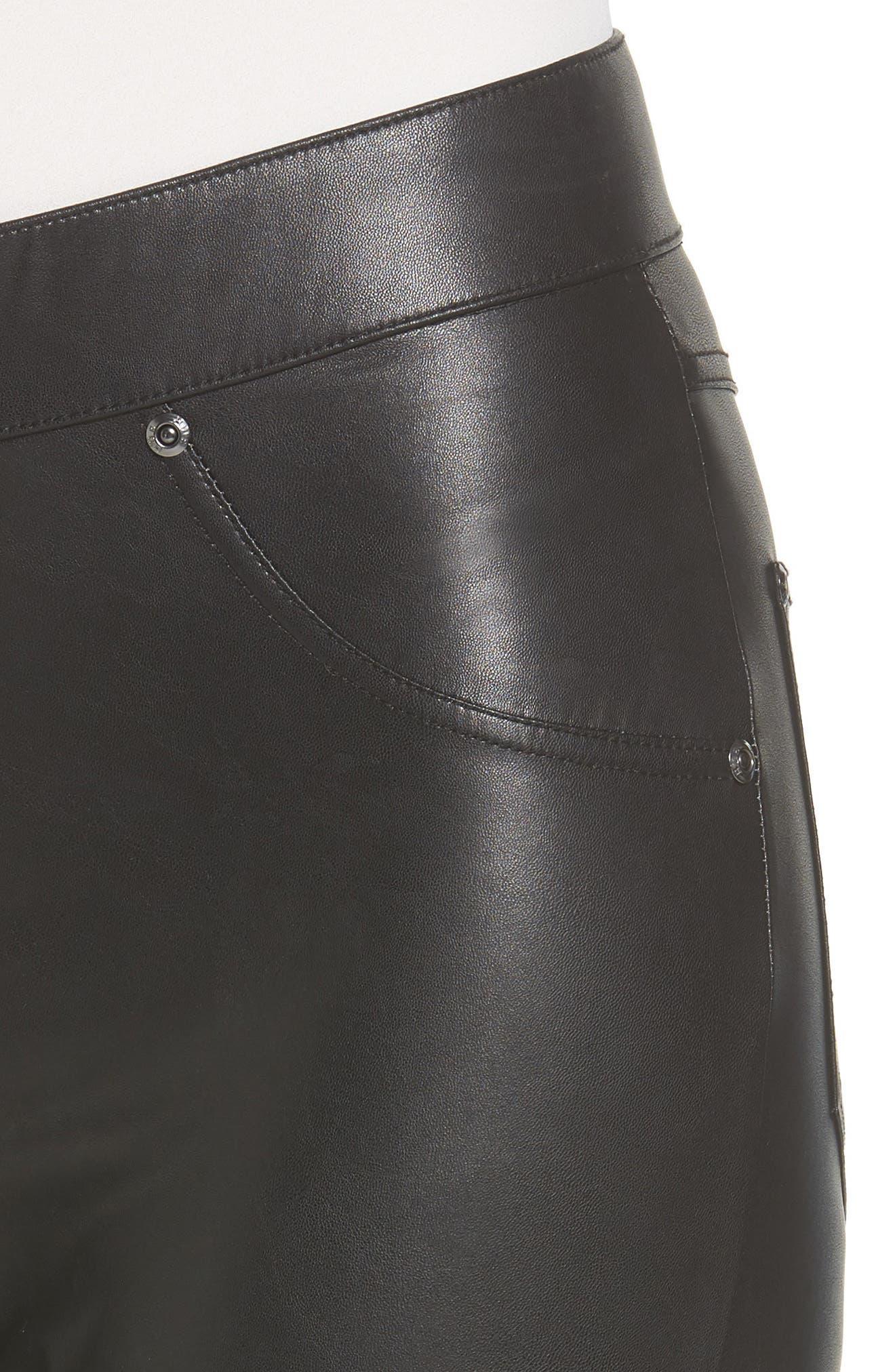 Alternate Image 5  - Hue Leatherette Curvy Leggings