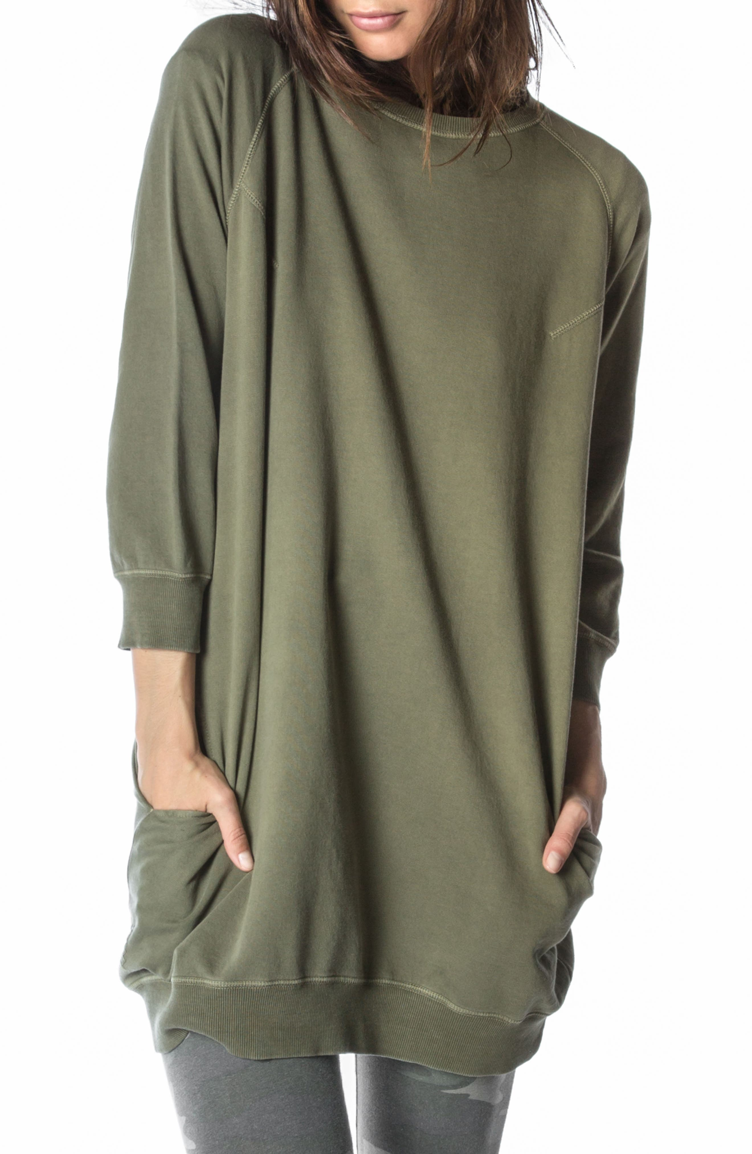 Sweatshirt Dress,                             Alternate thumbnail 2, color,                             Faded Army