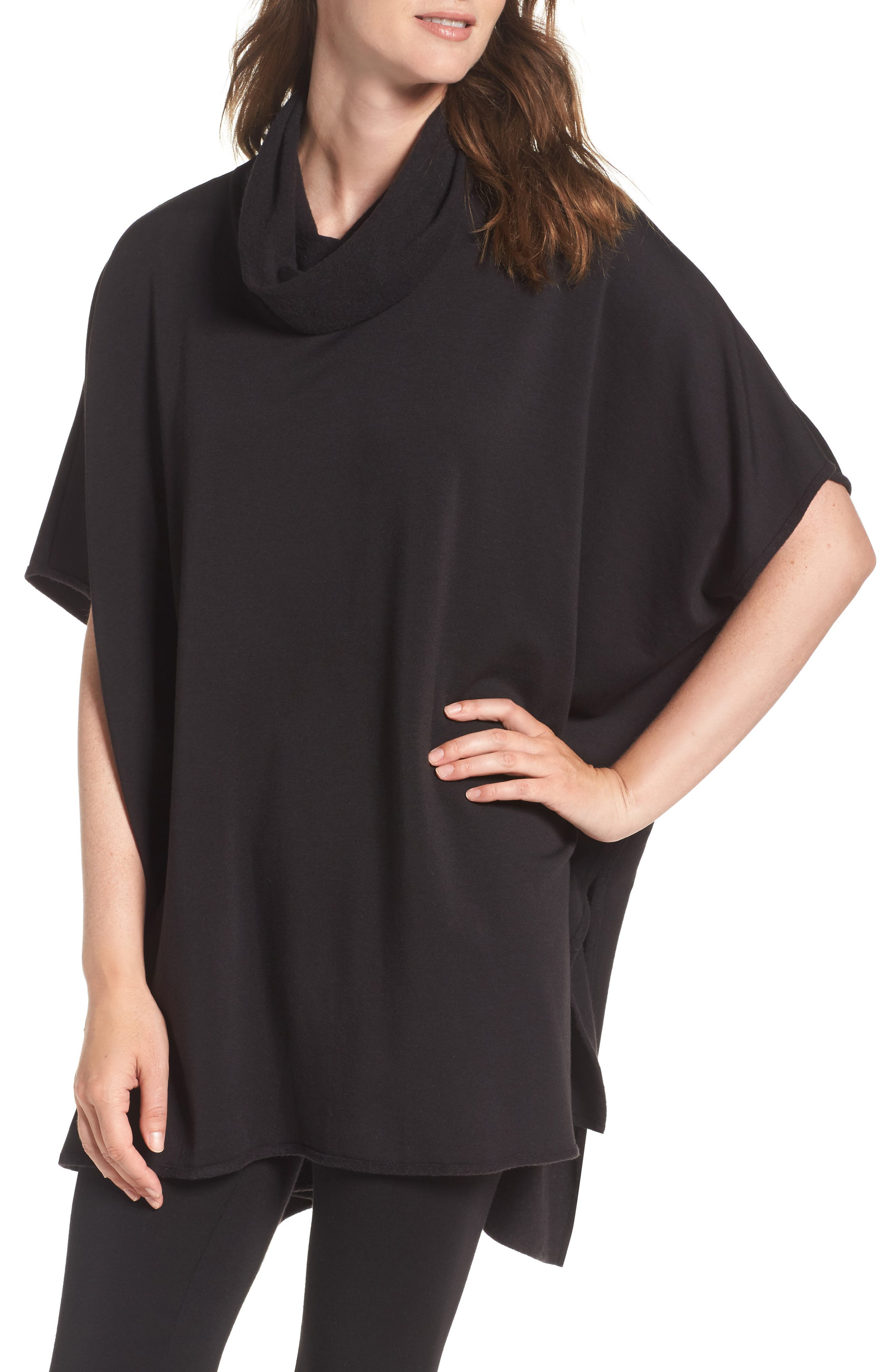 Brushed Jersey Poncho,                         Main,                         color, Black