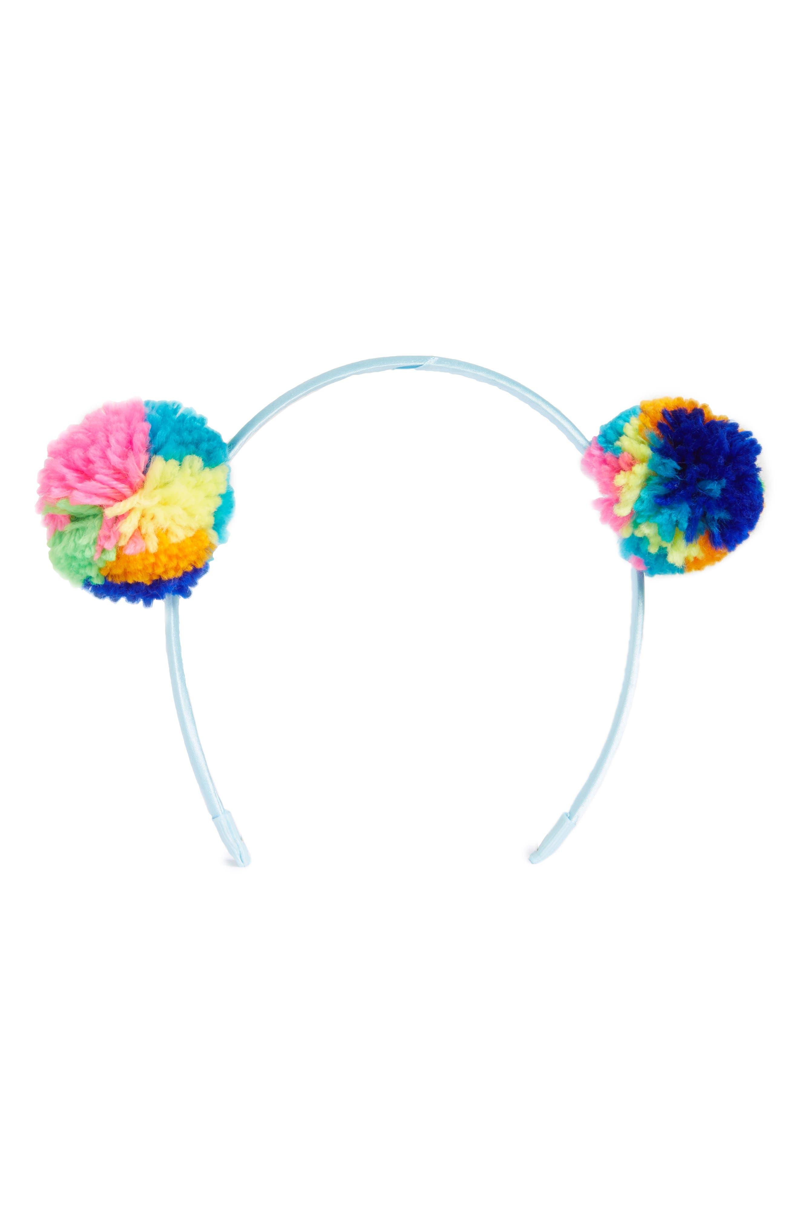 Pom Headband,                             Main thumbnail 1, color,                             Blue Multi