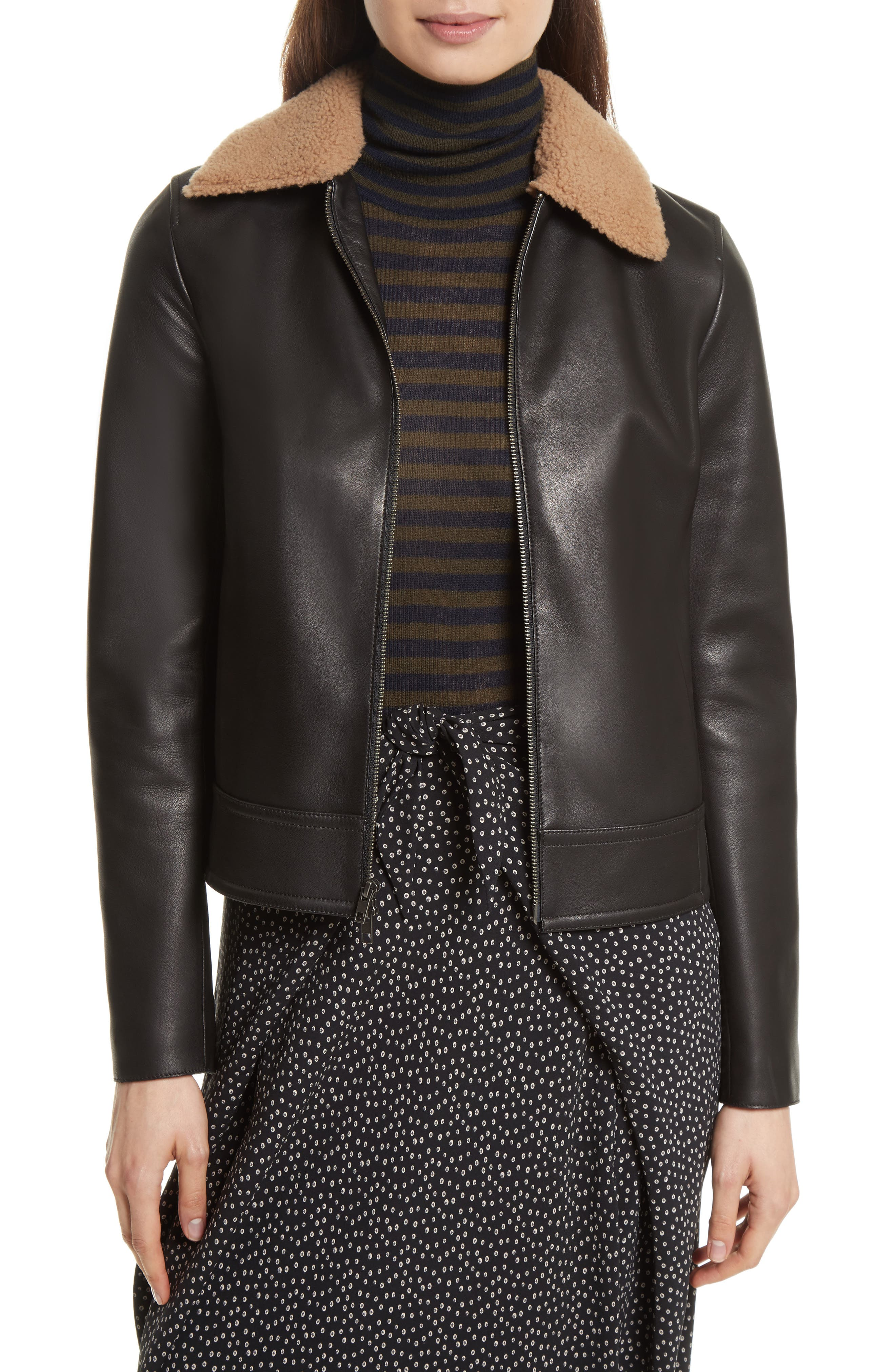 Leather Jacket with Genuine Shearling Trim,                         Main,                         color, Black