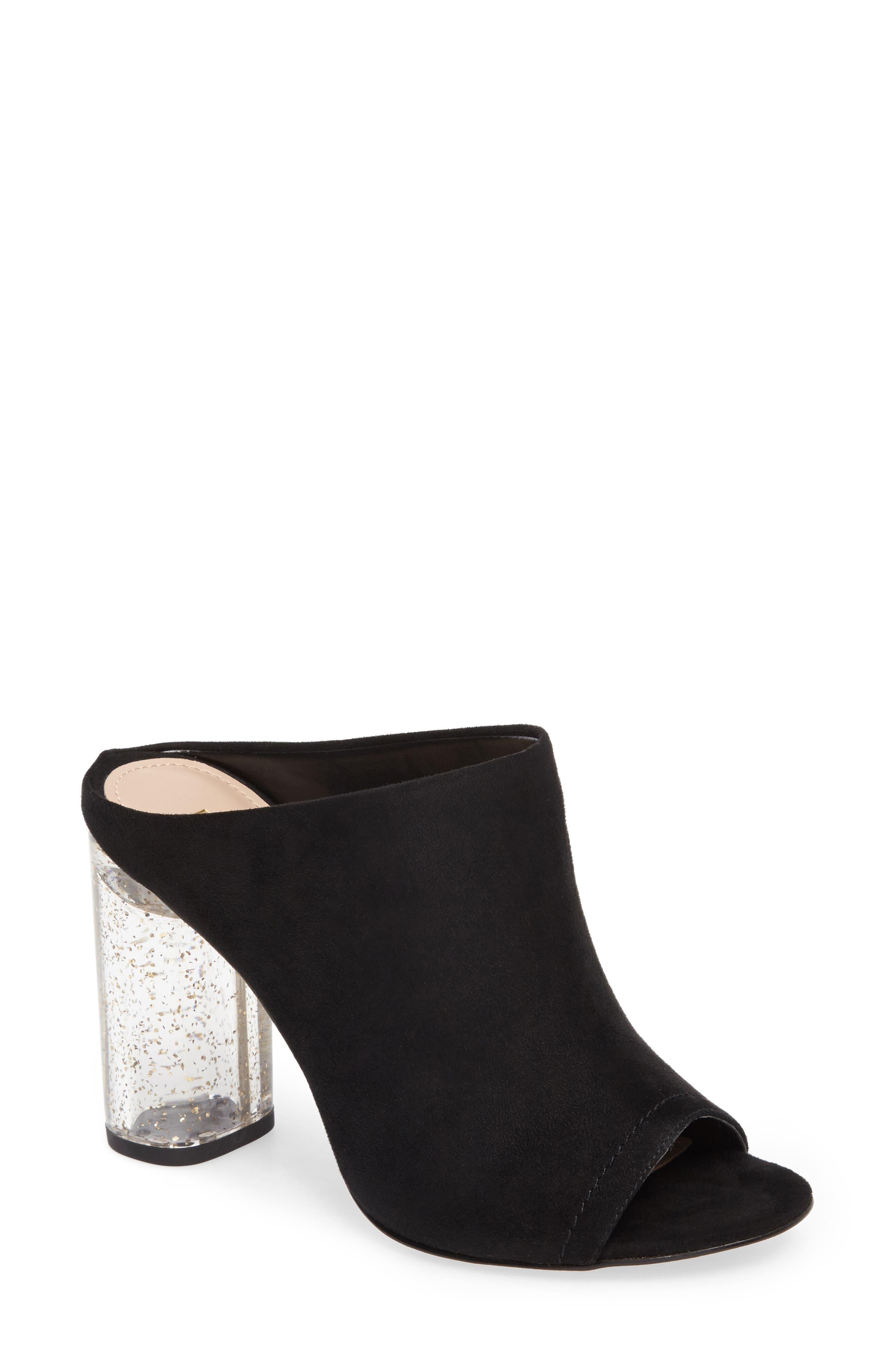 Renee Block Heel Mule,                         Main,                         color, Black Suede