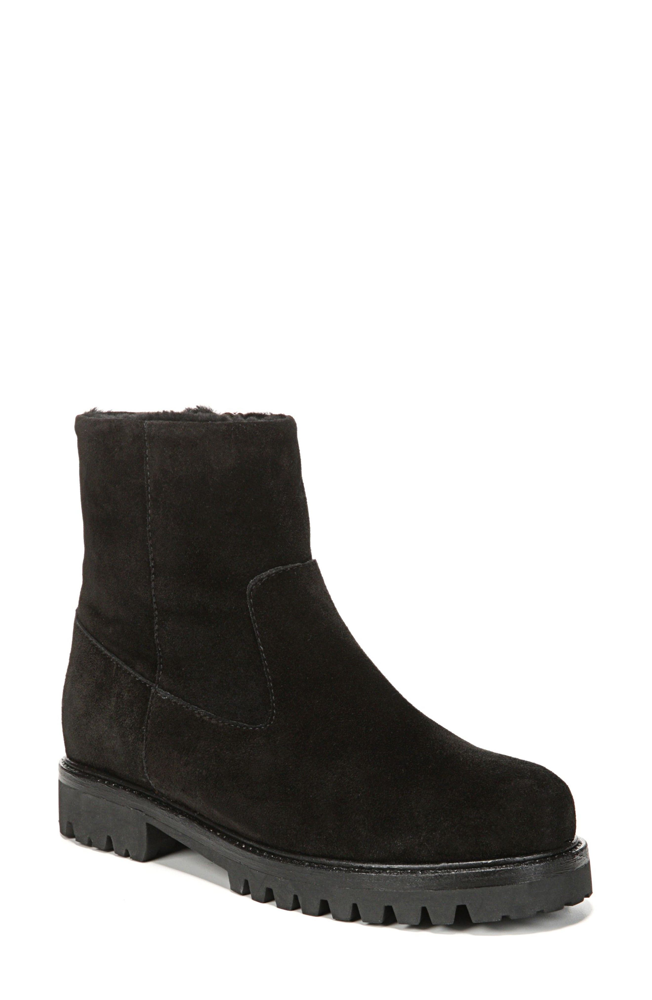 Frances Genuine Shearling Lug Boot,                             Main thumbnail 1, color,                             Black