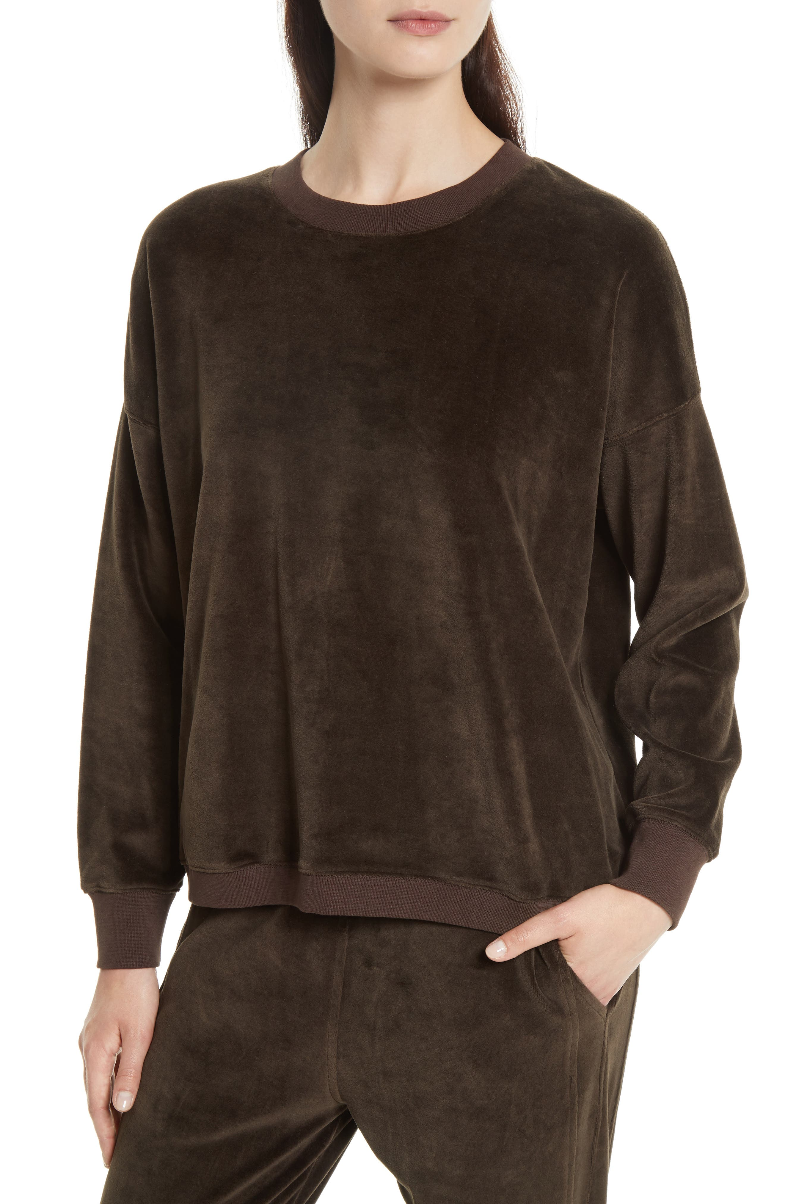 Velour Pullover,                         Main,                         color, Balsamic
