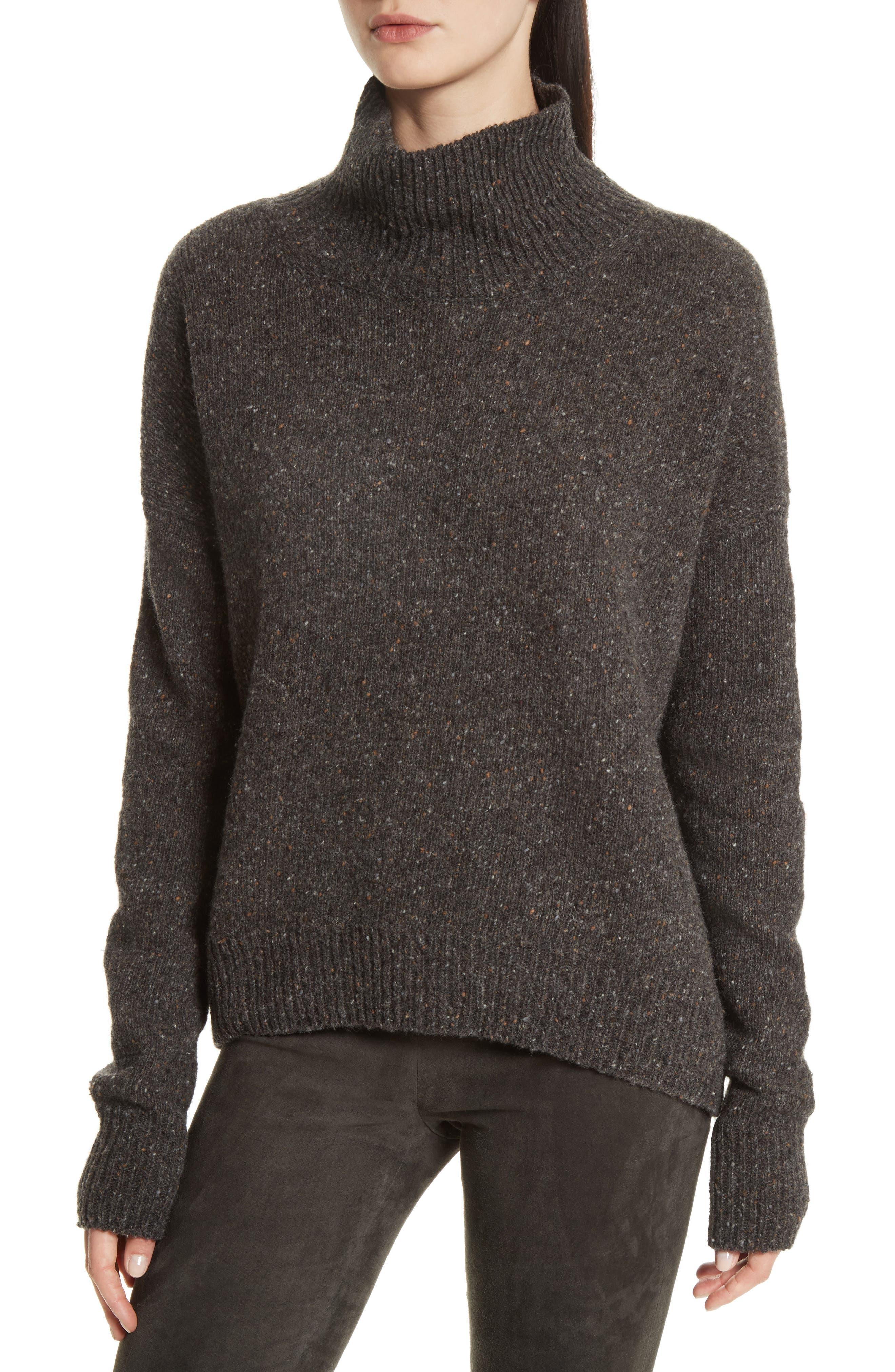 Cashmere Turtleneck Sweater,                             Main thumbnail 1, color,                             Charcoal