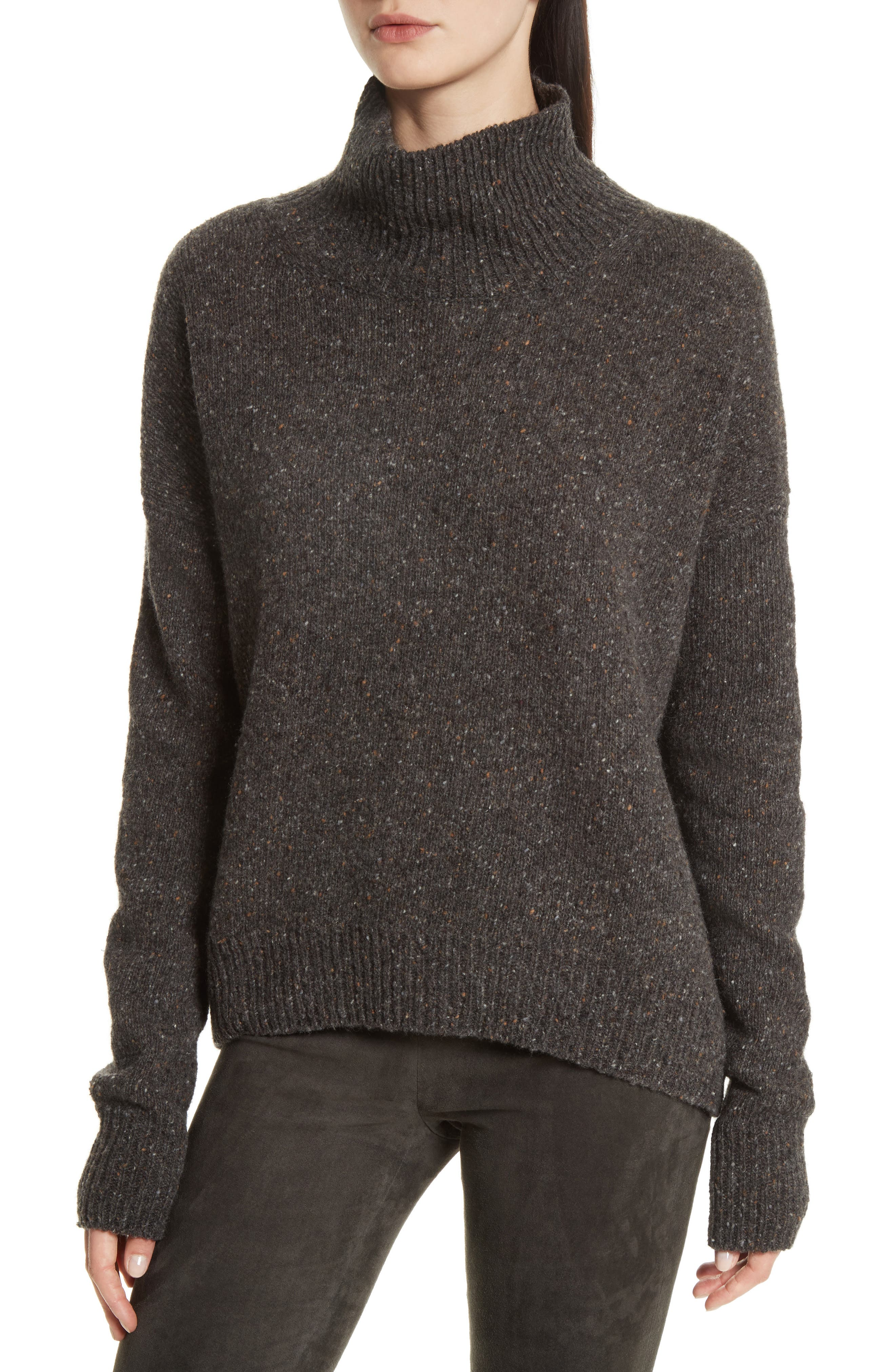 Cashmere Turtleneck Sweater,                         Main,                         color, Charcoal