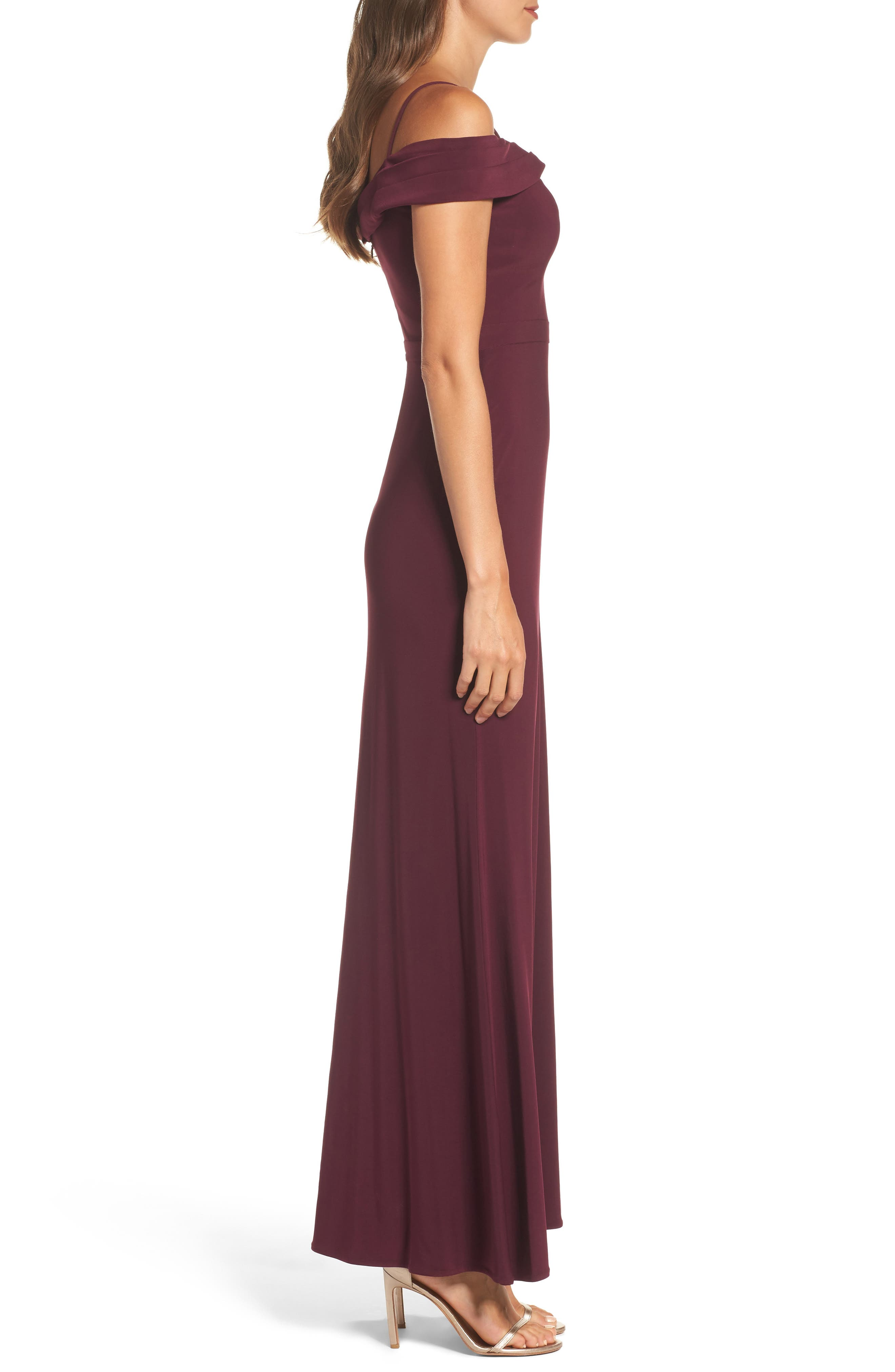Off the Shoulder Gown,                             Alternate thumbnail 3, color,                             Wine